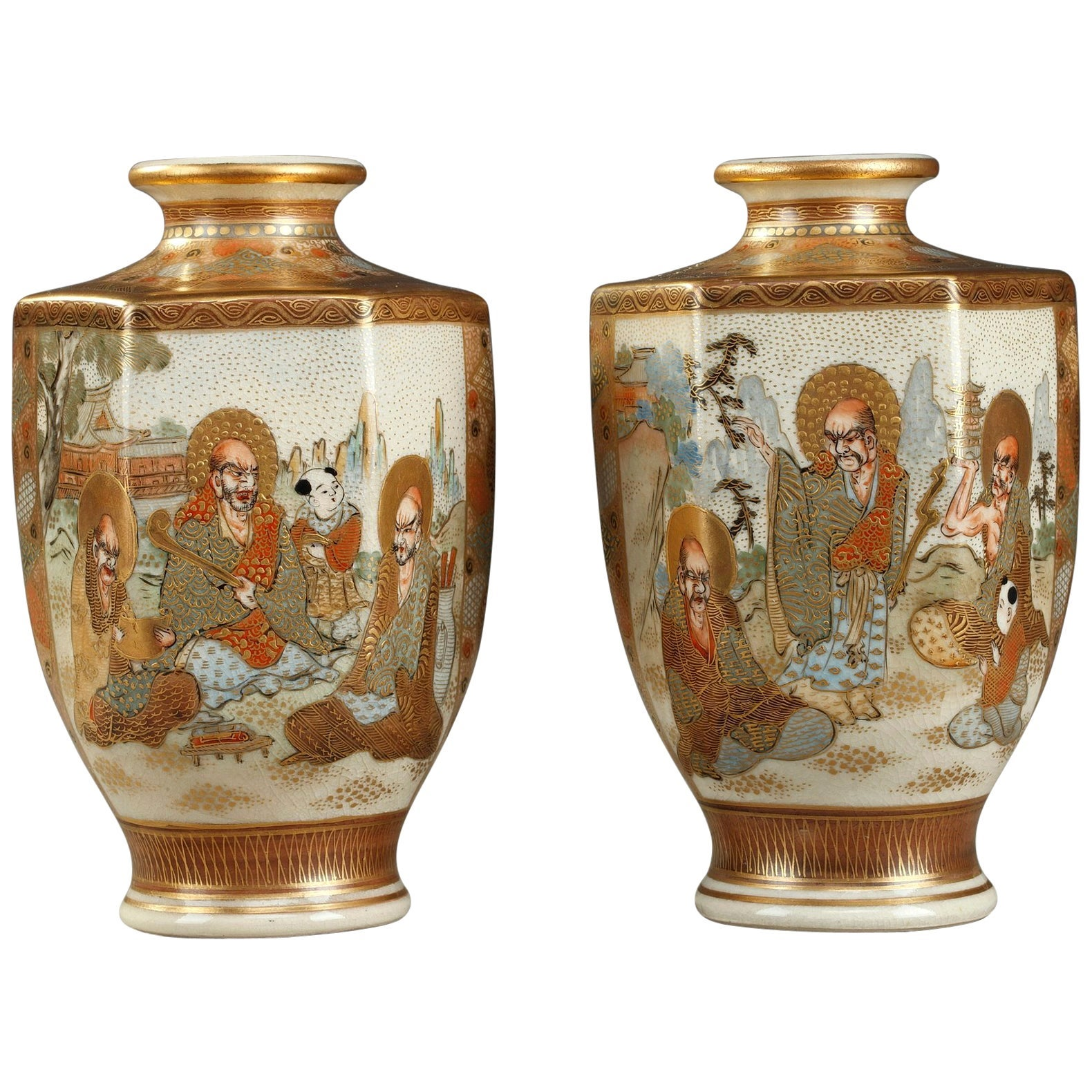 20th Century Pair of Small Porcelain Satsuma Vases