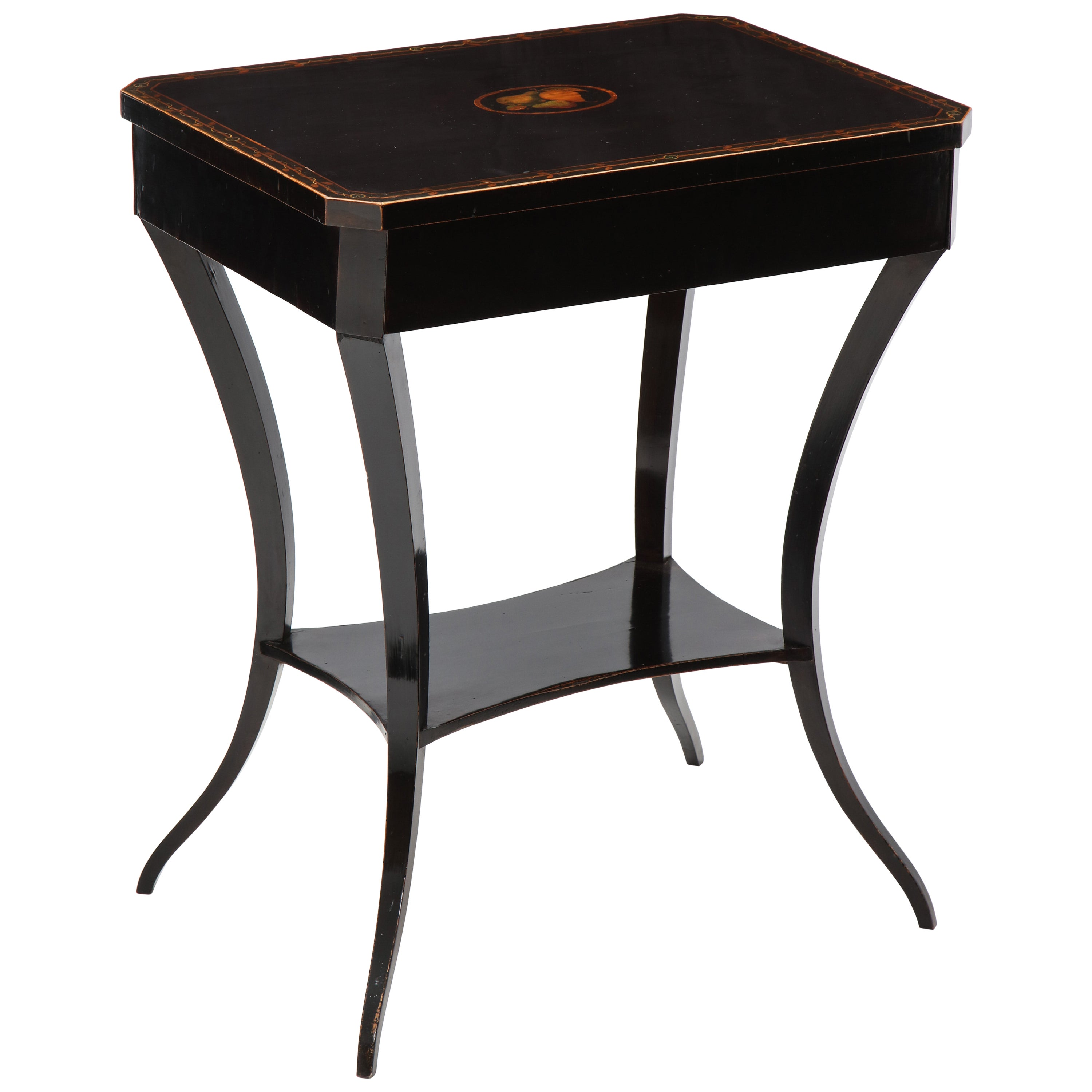 Austrian Empire Fruitwood, Stenciled and Ebonized Side Table, circa 1820s