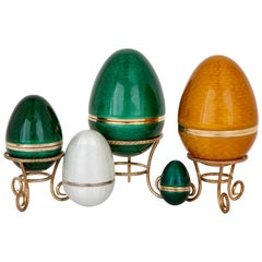 Set of Five Silver, Silver-Gilt and Guilloché Enamel Egg Containers