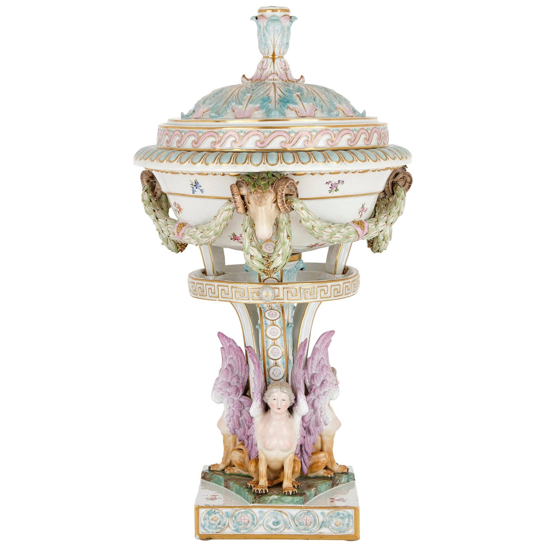 Antique Painted and Parcel Gilt Porcelain Vase by Meissen