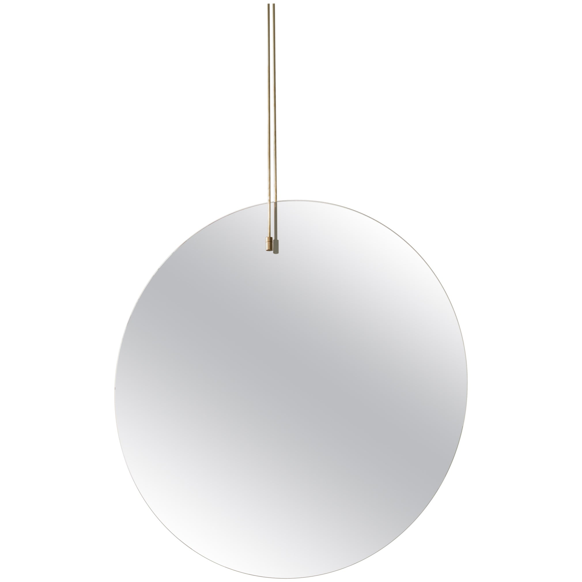 Passage Mirror, a Circular Mirror Made of One-way Mirror and Brushed Brass
