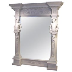 Magestic Palatial-Sized White Lacquered Faun Framed Mirror