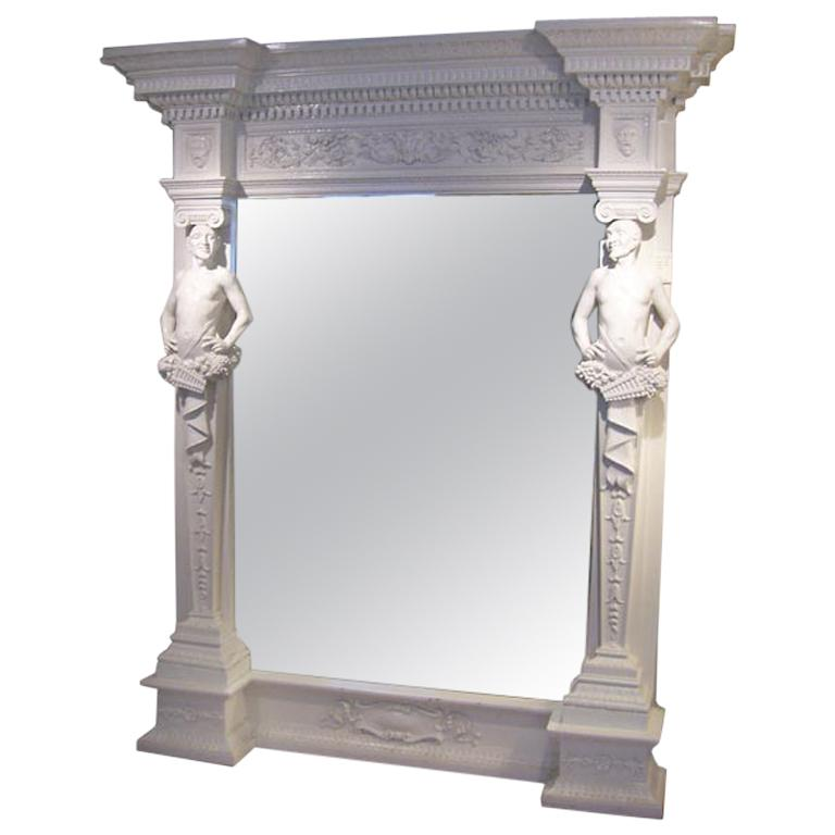 Magestic Palatial-Sized White Lacquered Faun Framed Mirror For Sale