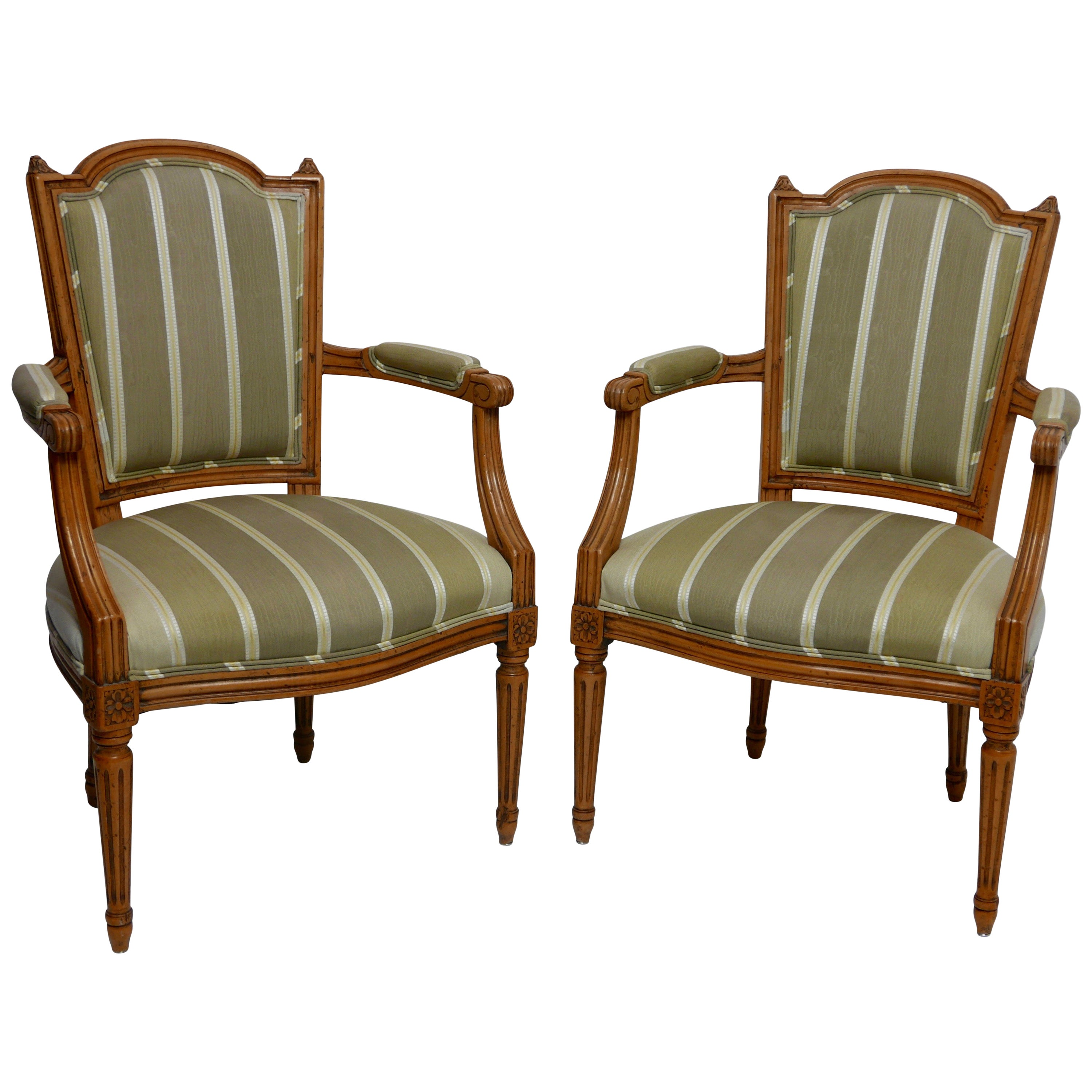 Pair of Louis XVI Fauteuils Armchairs with Carved Frames, French, circa 1800