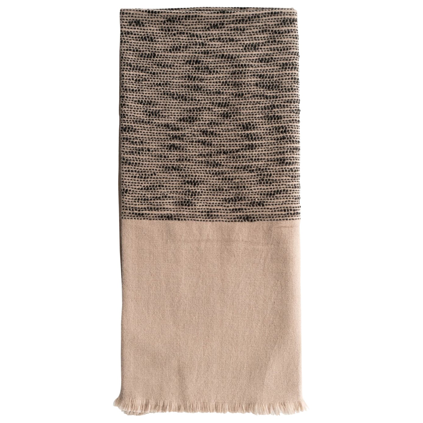 FLO Brown Handwoven & Hand Embroidered Throw / Blanket In Soft Merino