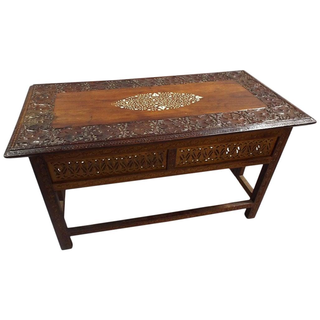 Moorish Carved and Inlaid Teak Folding Coffee Table
