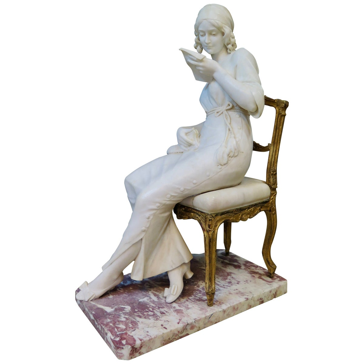Vintage Marble and Bronze Seated Lady Sculpture