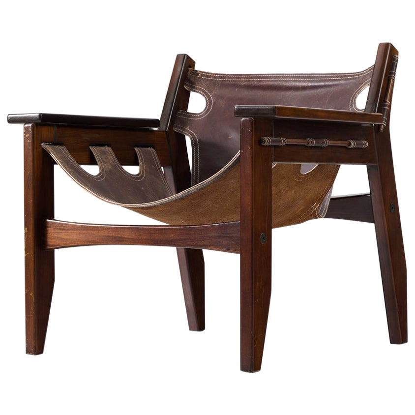 Sergio Rodrigues 'Kilin' Lounge Chair with Leather