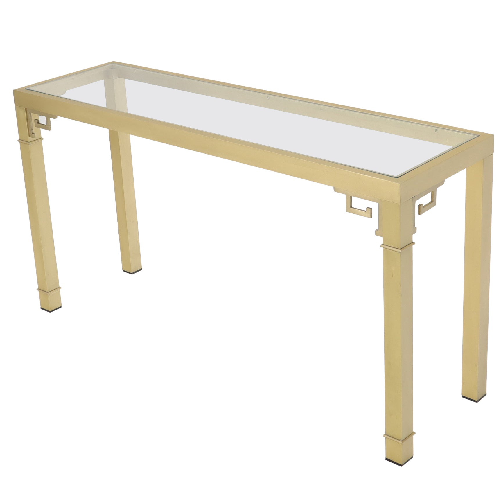 Mastercraft Solid Square Brass Profile Greek Key Glass Top Console Sofa Table