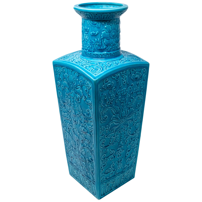 Chinese Turquoise Blue Glazed Monochromed Square Vase, Qing Dynasty