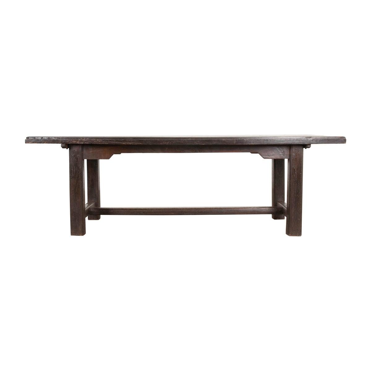 French 19th Century Provincial Oak Trestled Farm Table