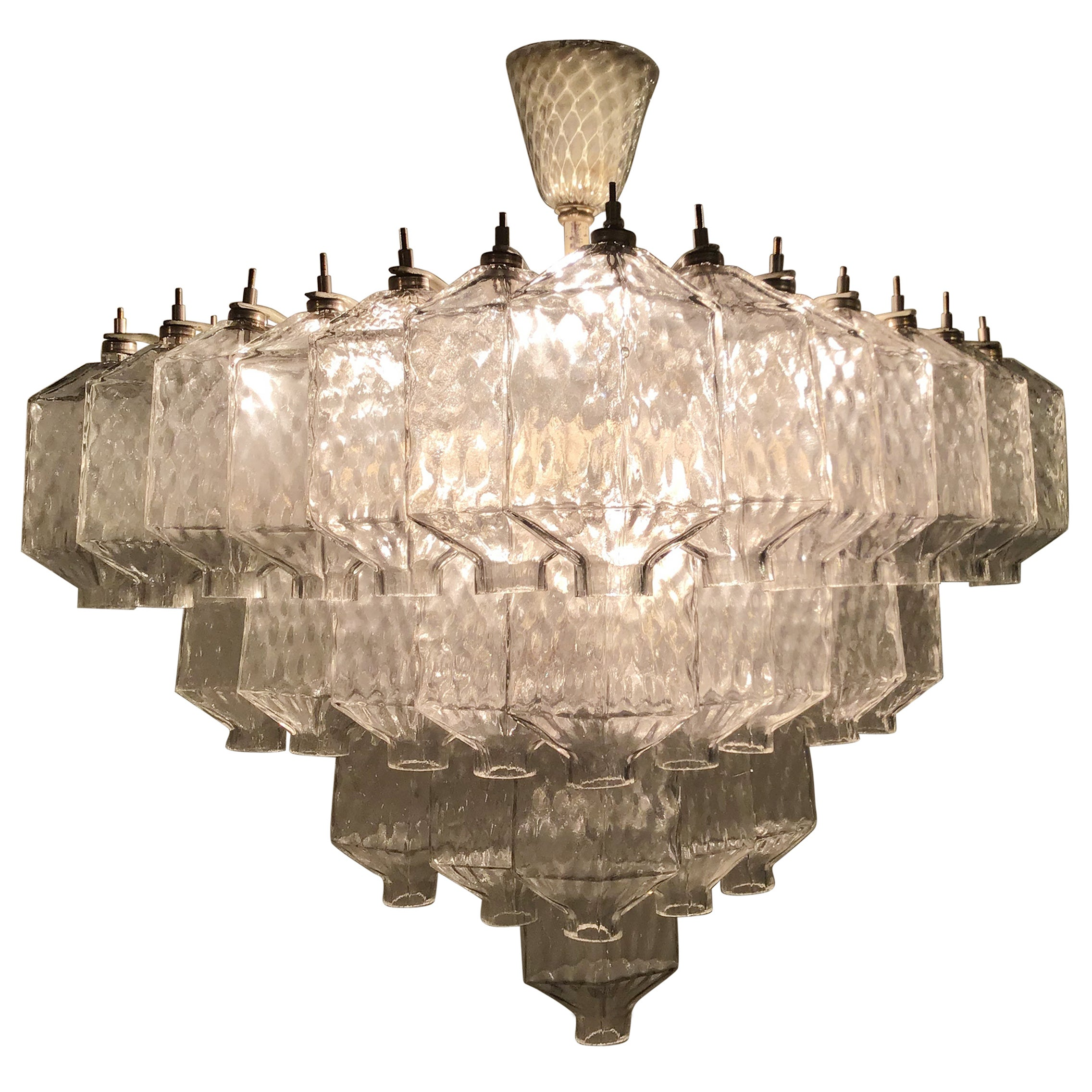 Venini Chandelier 1950 Murano Glass Iron, Italy