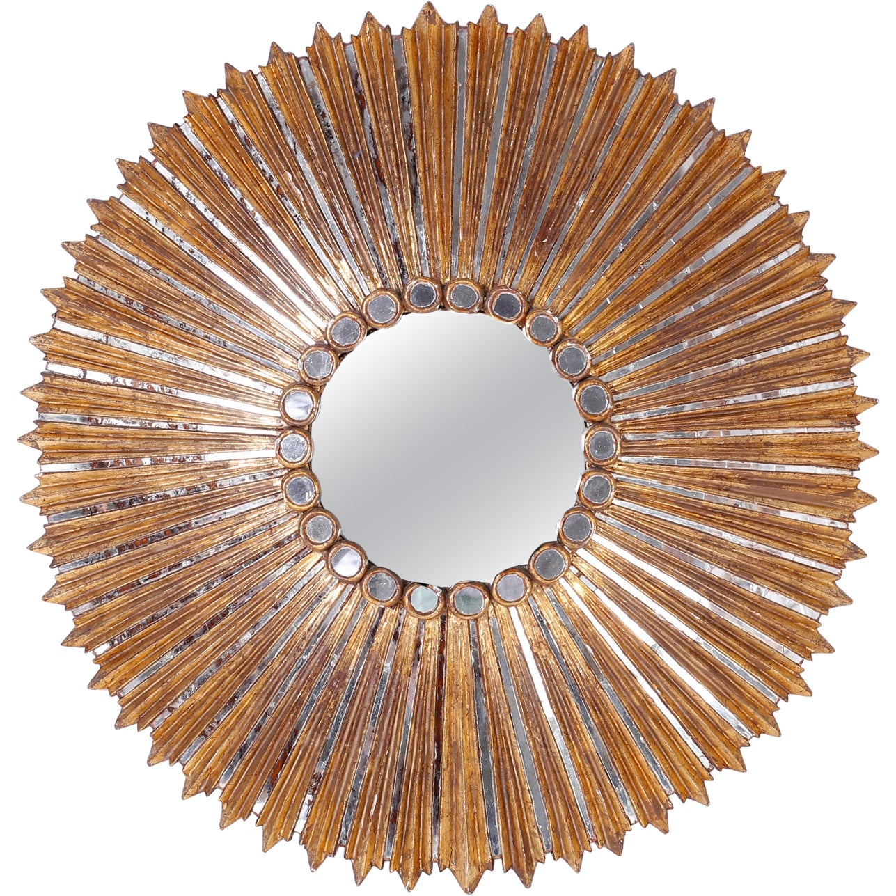 Large Round Sunburst Gilt and Carved Mirror