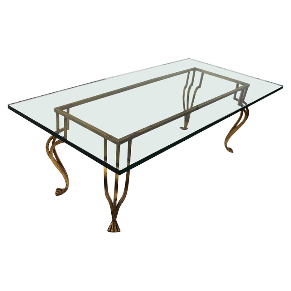 Gilt Iron Base Coffee Table with Plate Glass Top