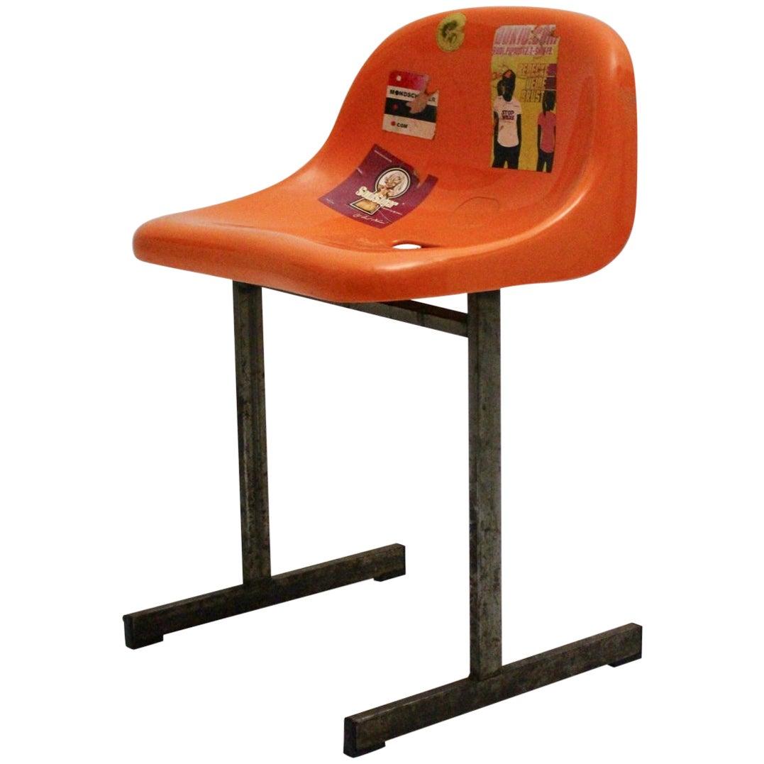 Modernist Vintage Orange Plastic Metal Chair from a Sports Stadium, 1970s