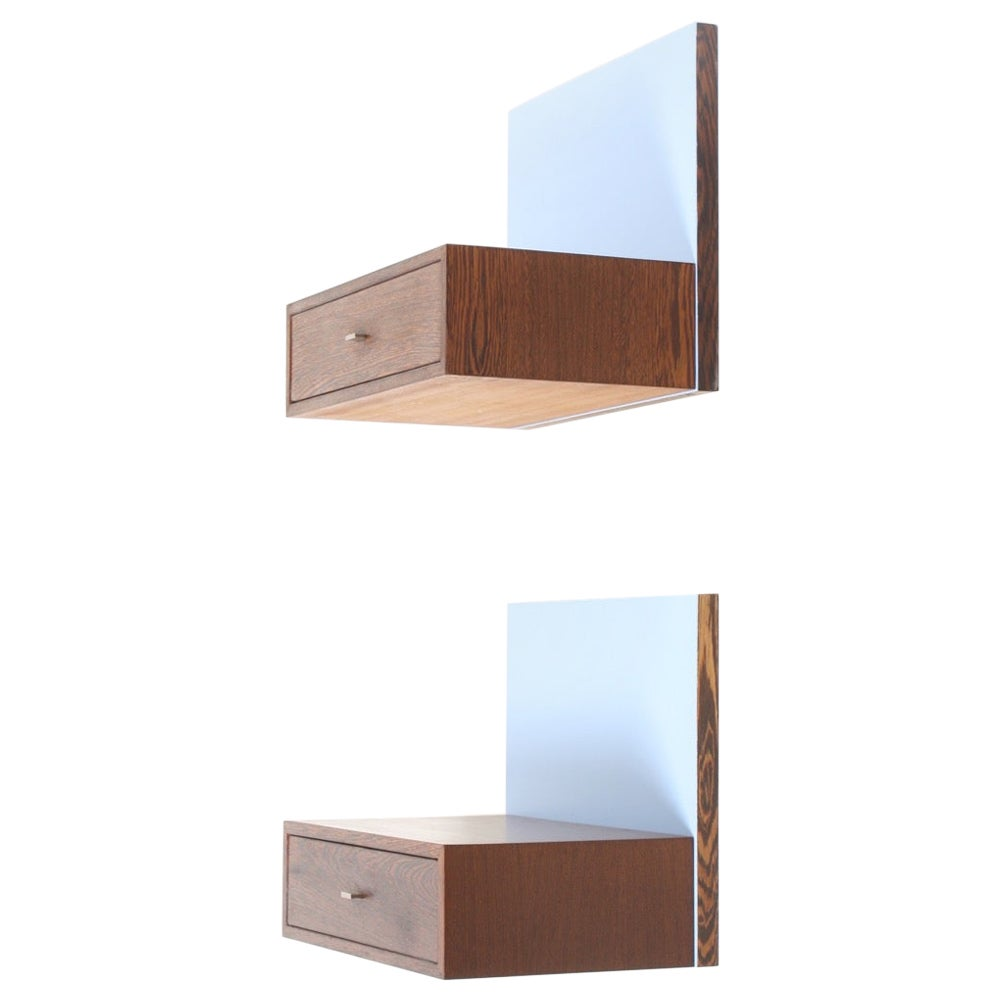 Pair of Wall-Mounted Nightstands in Wenge, Light Blue Back Panels, Denmark 1960s