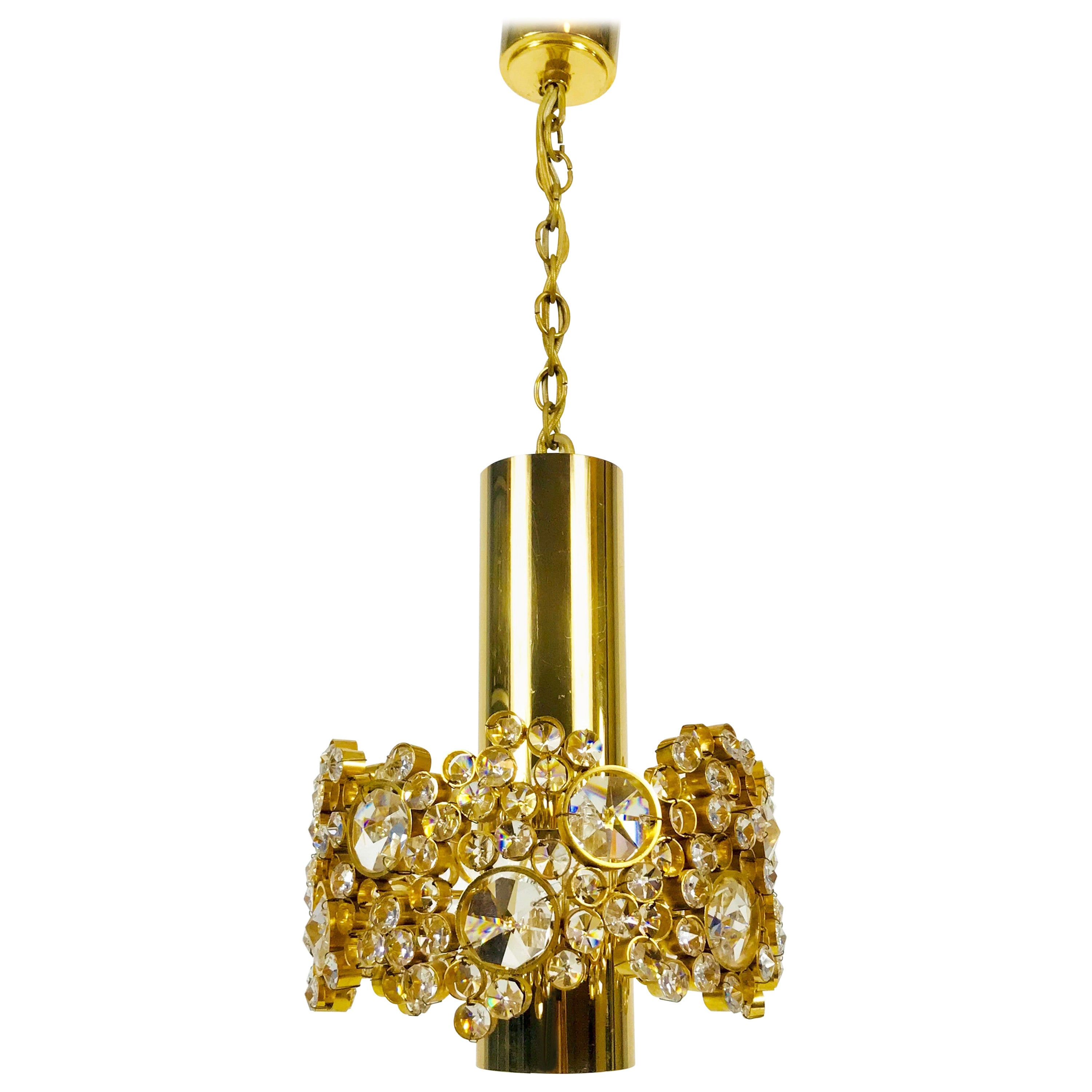 Gilt Brass and Crystal Glass Chandelier by Palwa, Germany, 1970s