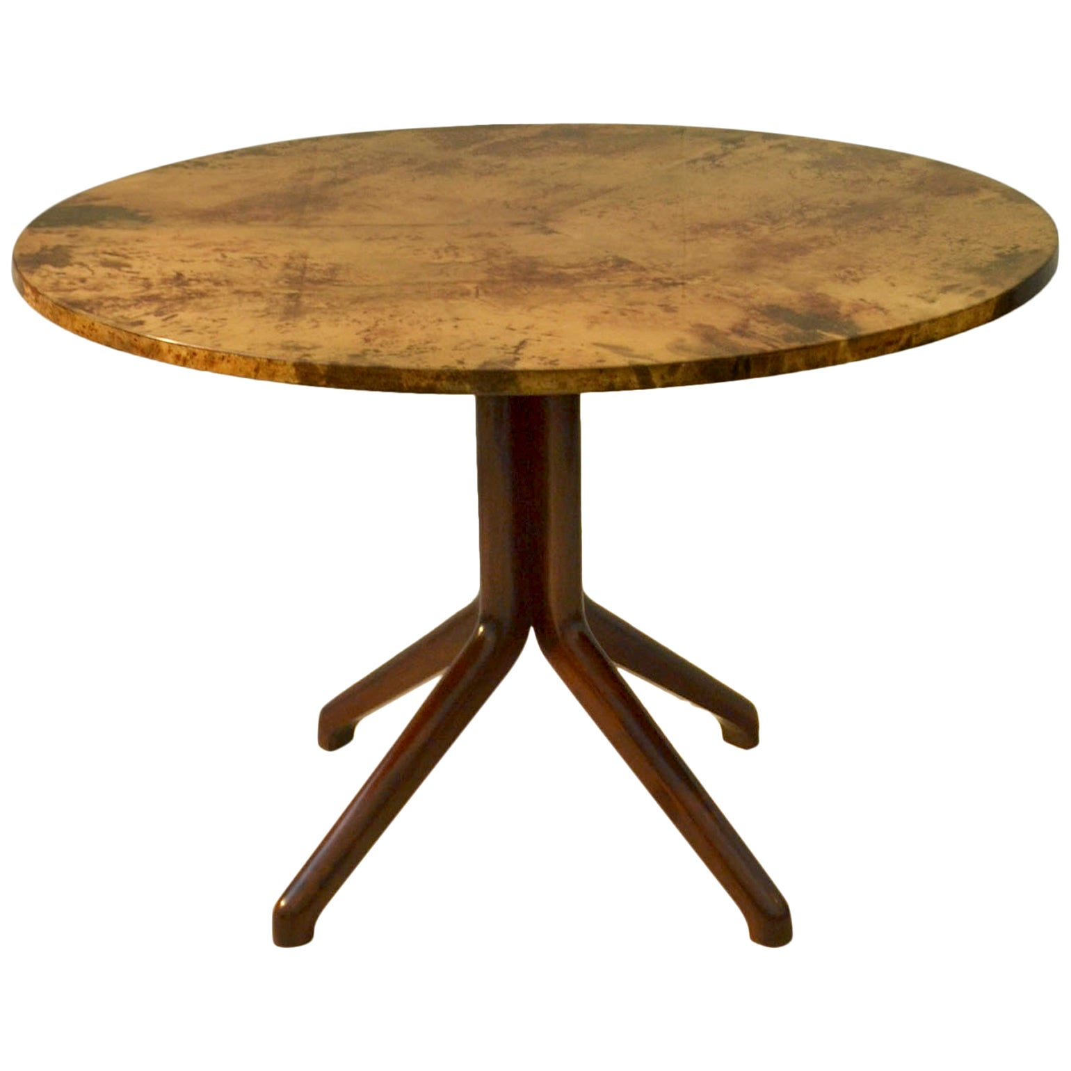 Dining Table by Aldo Tura, Parchment Top and Ebonized Wood Base