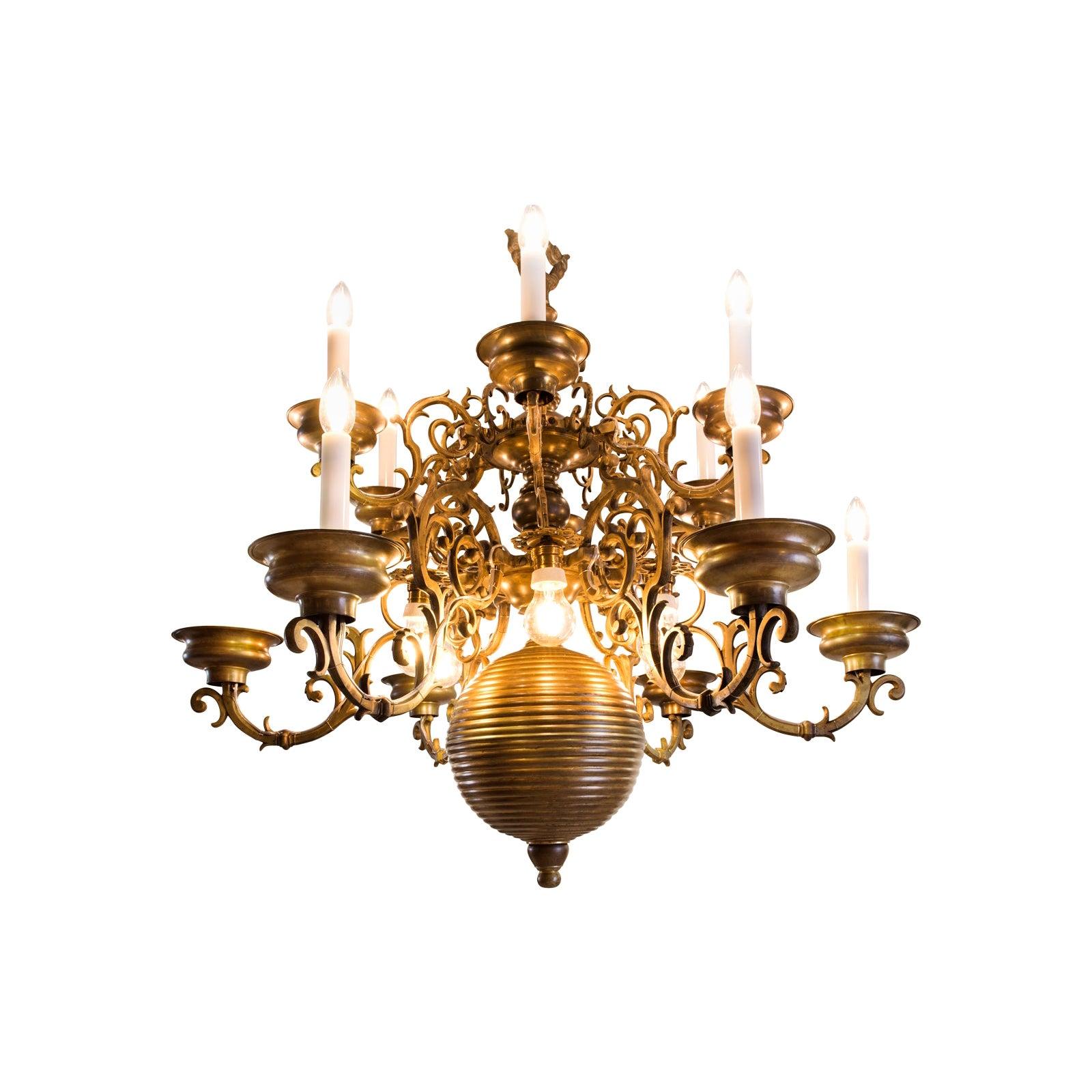 Original Austro -Hungary Flemish Baroque Chandelier 19th Century-1895-Restored