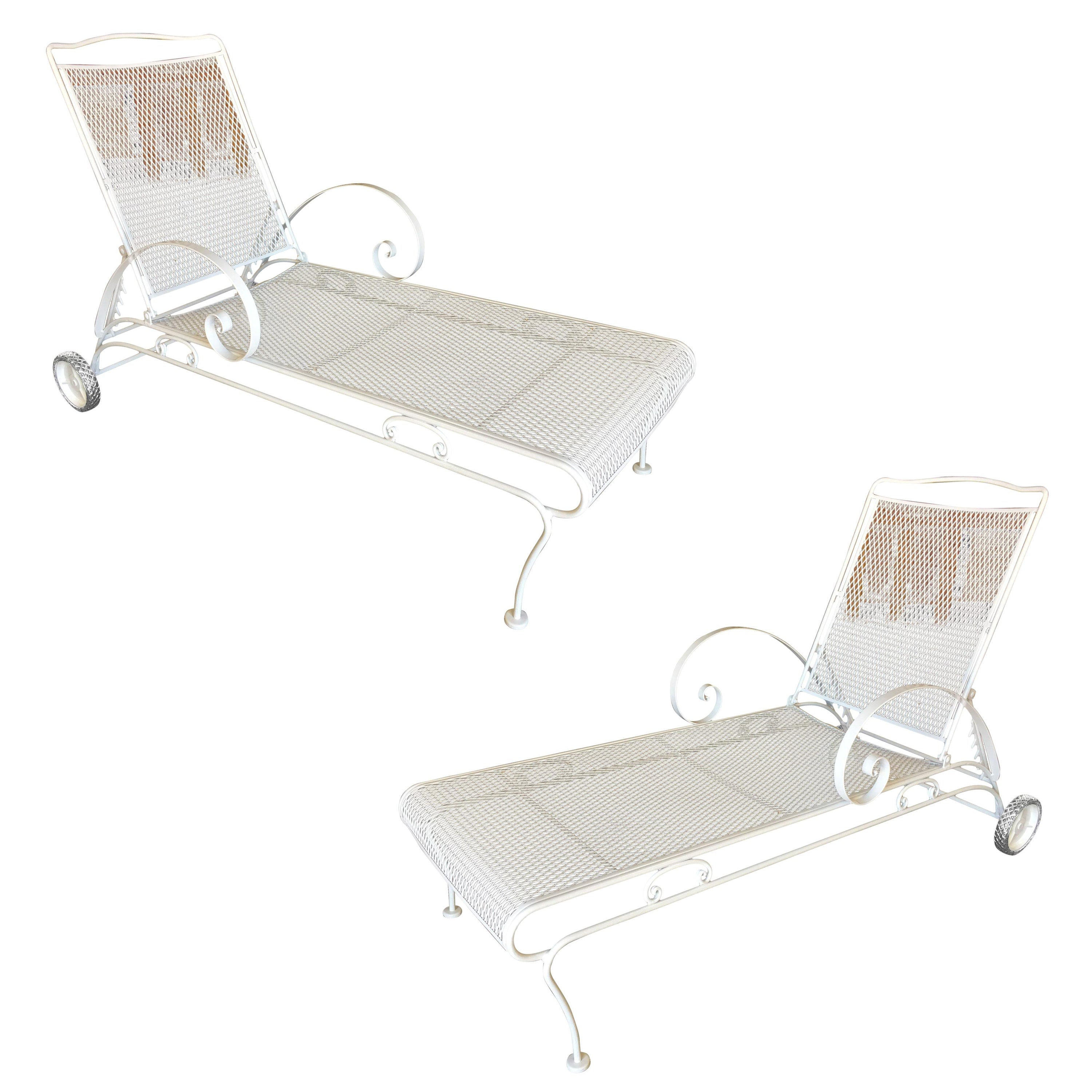 Outstanding Iron Mesh Outdoor Patio Chaise Lounge By Woodard 2 Available Bralicious Painted Fabric Chair Ideas Braliciousco