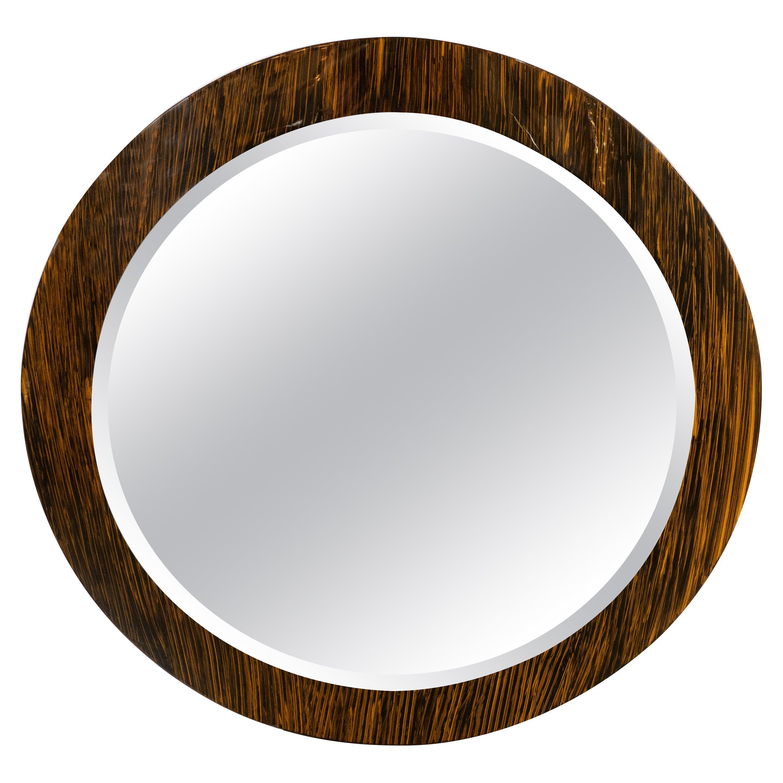 Art Deco Revival Macassar Grain Beveled Circular Mirror