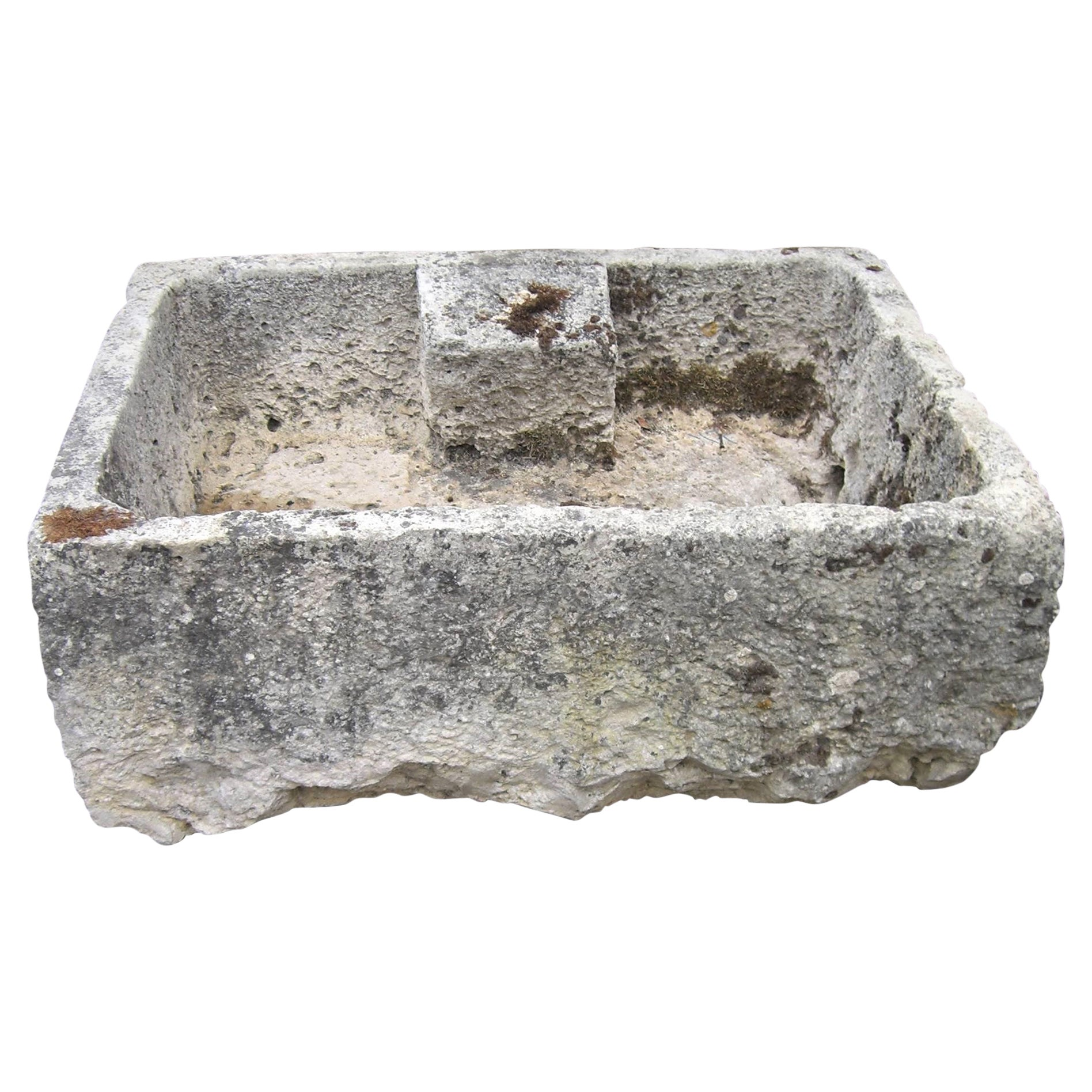 Hand Carved Stone Container Trough Sink Fountain Basin Antiques LA Fire pit 18th
