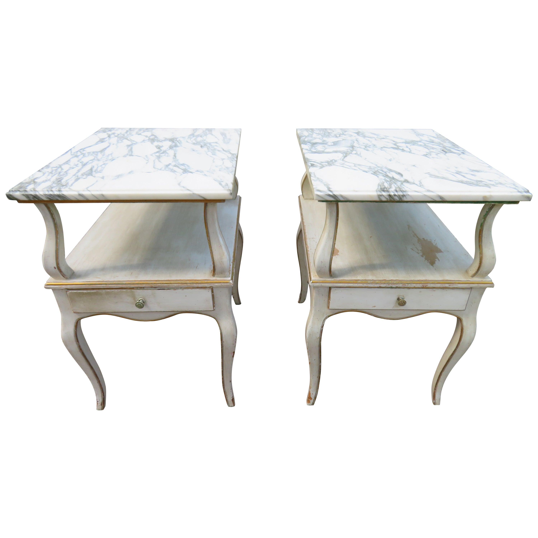 Lovely Pair of Dorothy Draper Style Marble-Top Nightstands Hollywood Regency