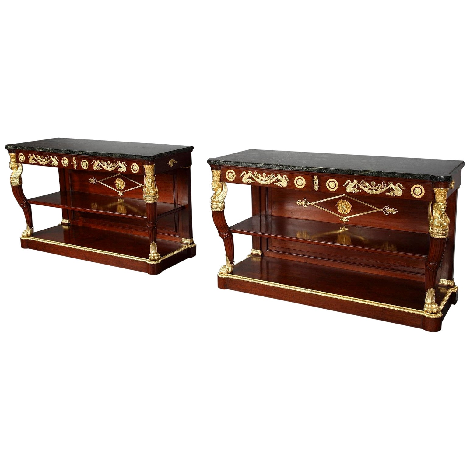 Important Pair of Marble-Topped Console Tables in Return from Egypt Style