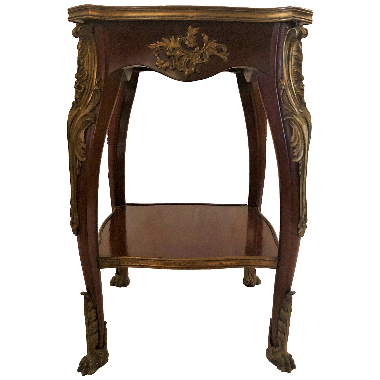 Antique French Louis XV Ormolu Mounted Mahogany Table, circa 1885