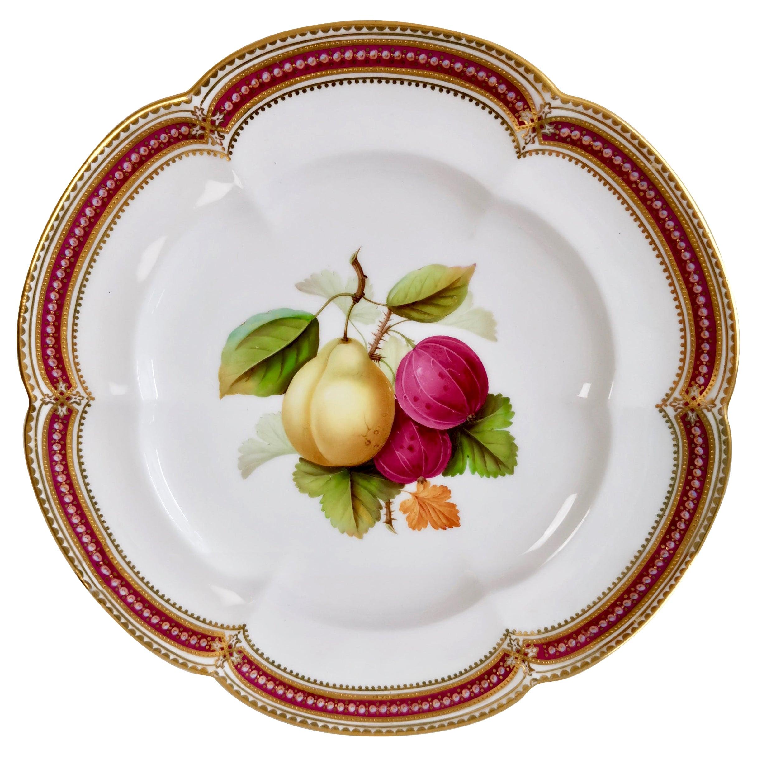 Coalport Dessert Plate, Fruit Painting by Jabey Aston, circa 1870