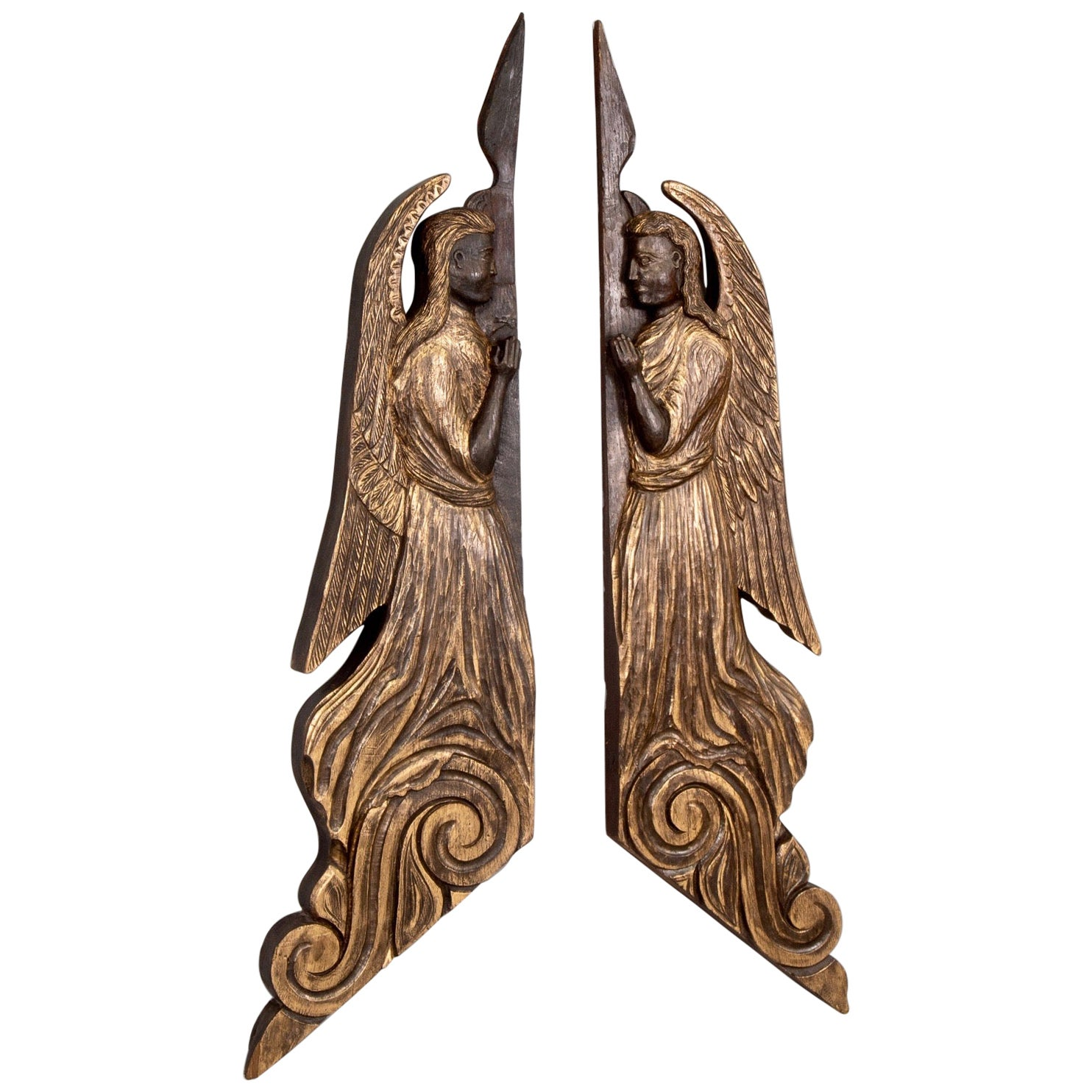 Pair of 19th Century Scottish Chip Carved Angels with Gilt Detail