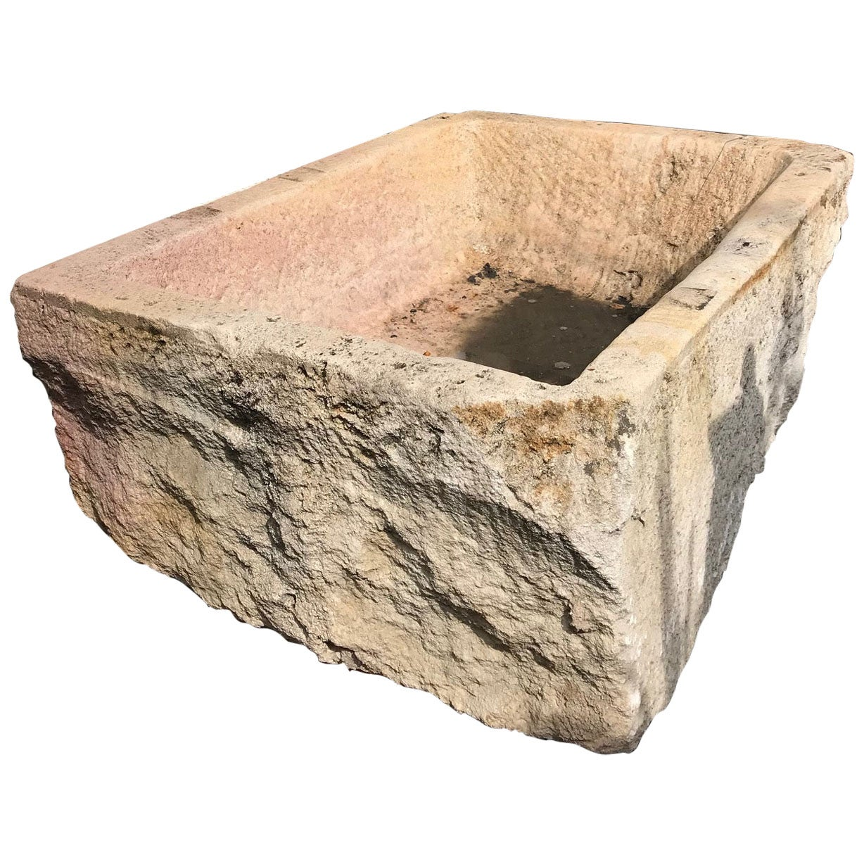 Hand Carved Stone Container Fountain Basin Tub Planter Container Trough antiques