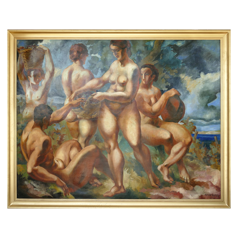 "Monumental Art Deco Oil Painting by André Hofer on Canvas, ""Harvest"", 1924"