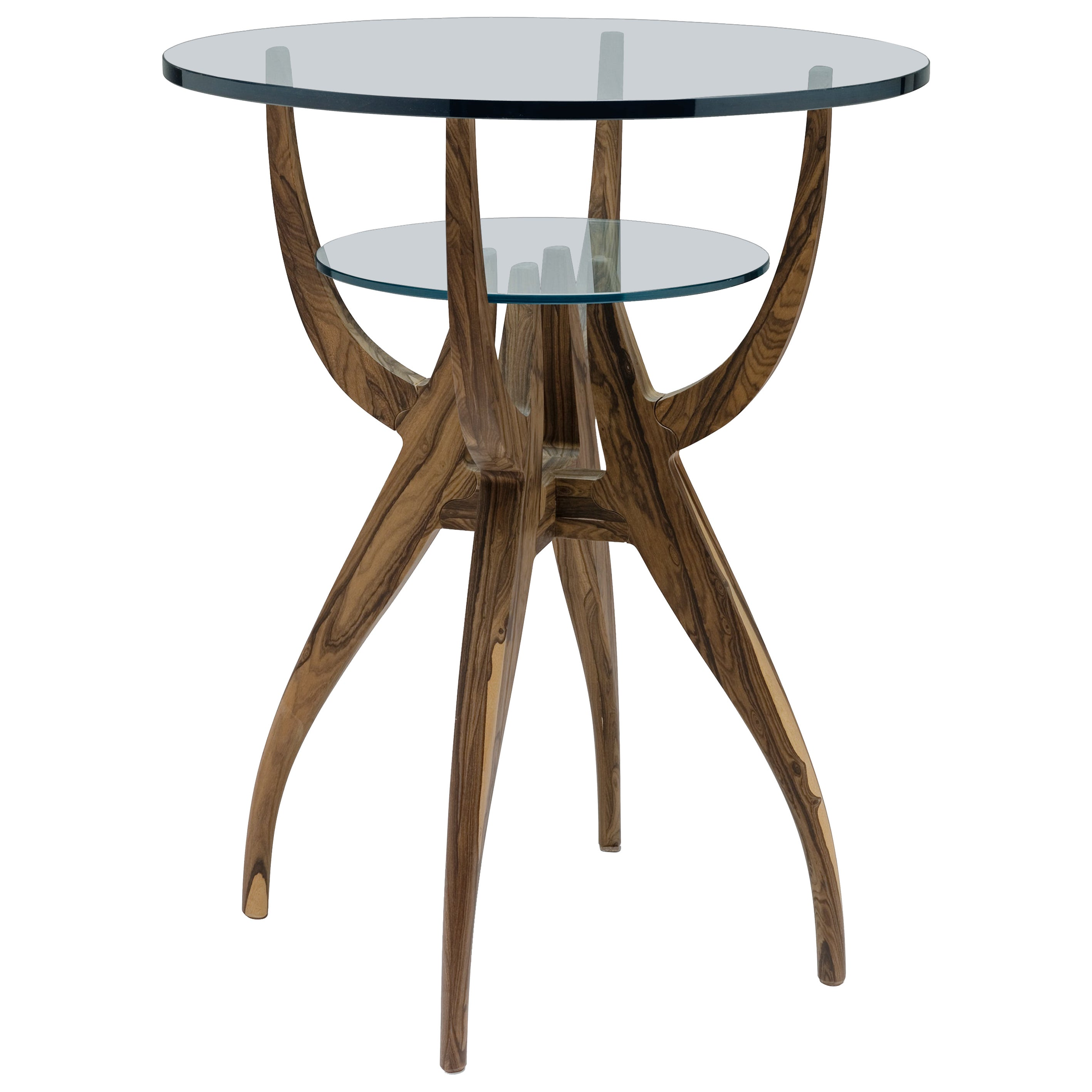 Stag/G small table in solid walnut with glass top
