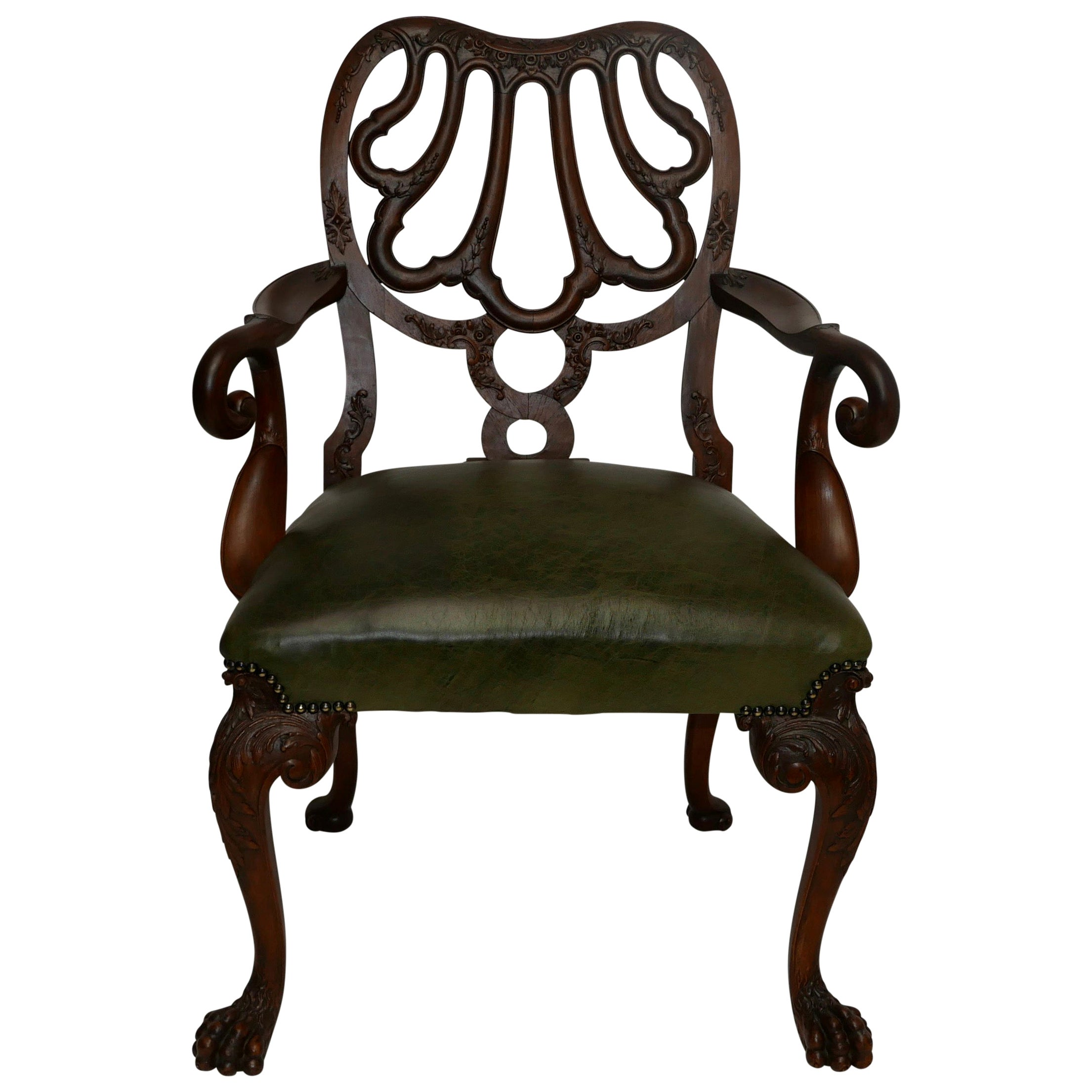 Walnut and Leather Armchair Desk Chair after Giles Grendey, Late 19th Century