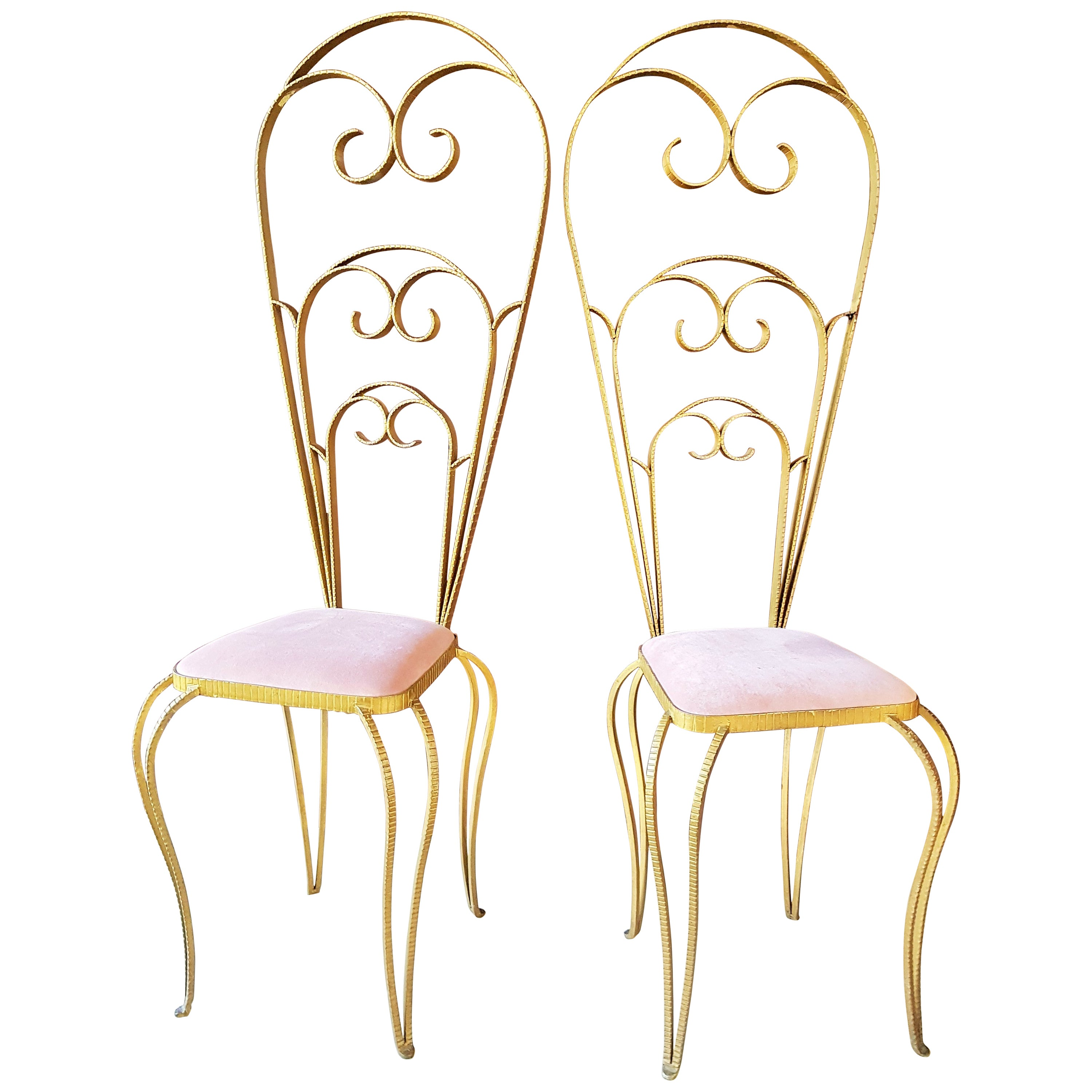 Art Deco Pair of Chairs Wrought Iron by Luigi Colli, Italy, 1940s