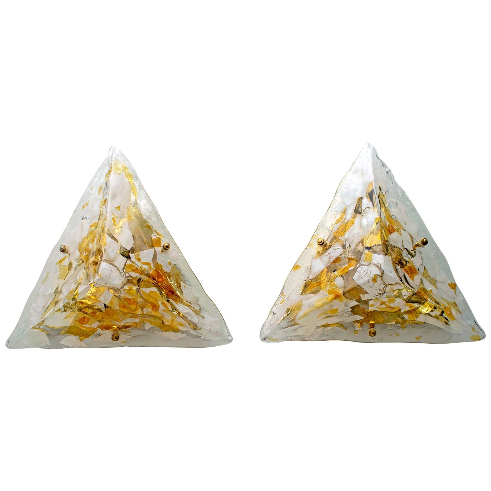 Pair of Mid-Century Modern Italian Murano Glass and Brass Sconces, 1980s