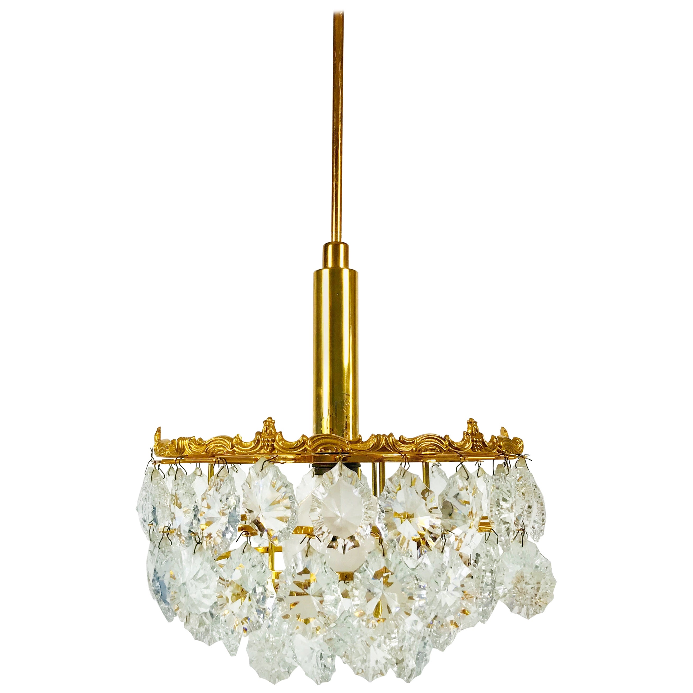 Gilt Brass and Crystal Glass 4-Tier Chandelier by Palwa, Germany, 1970s