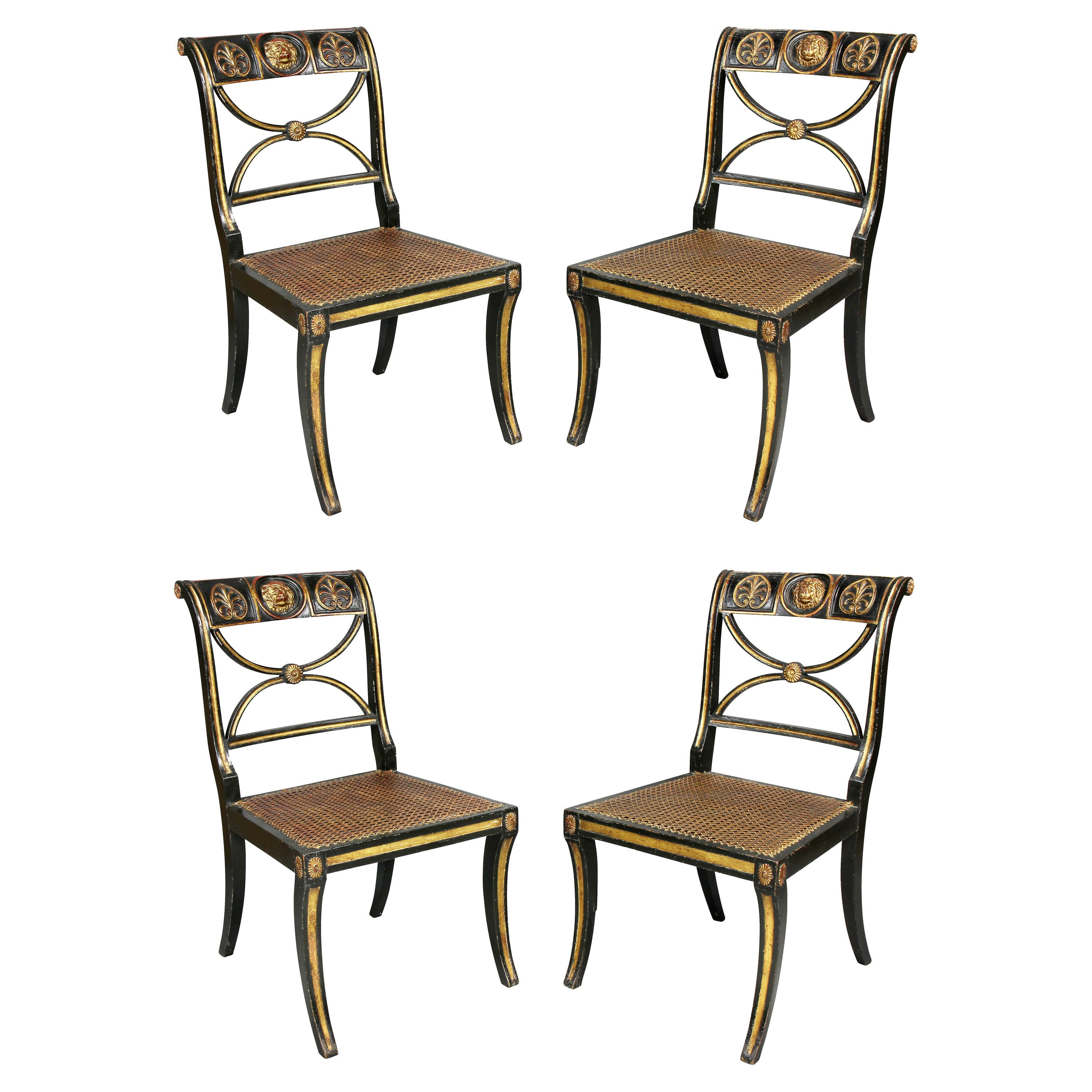Set of Four Regency Ebonized and Giltwood Chairs