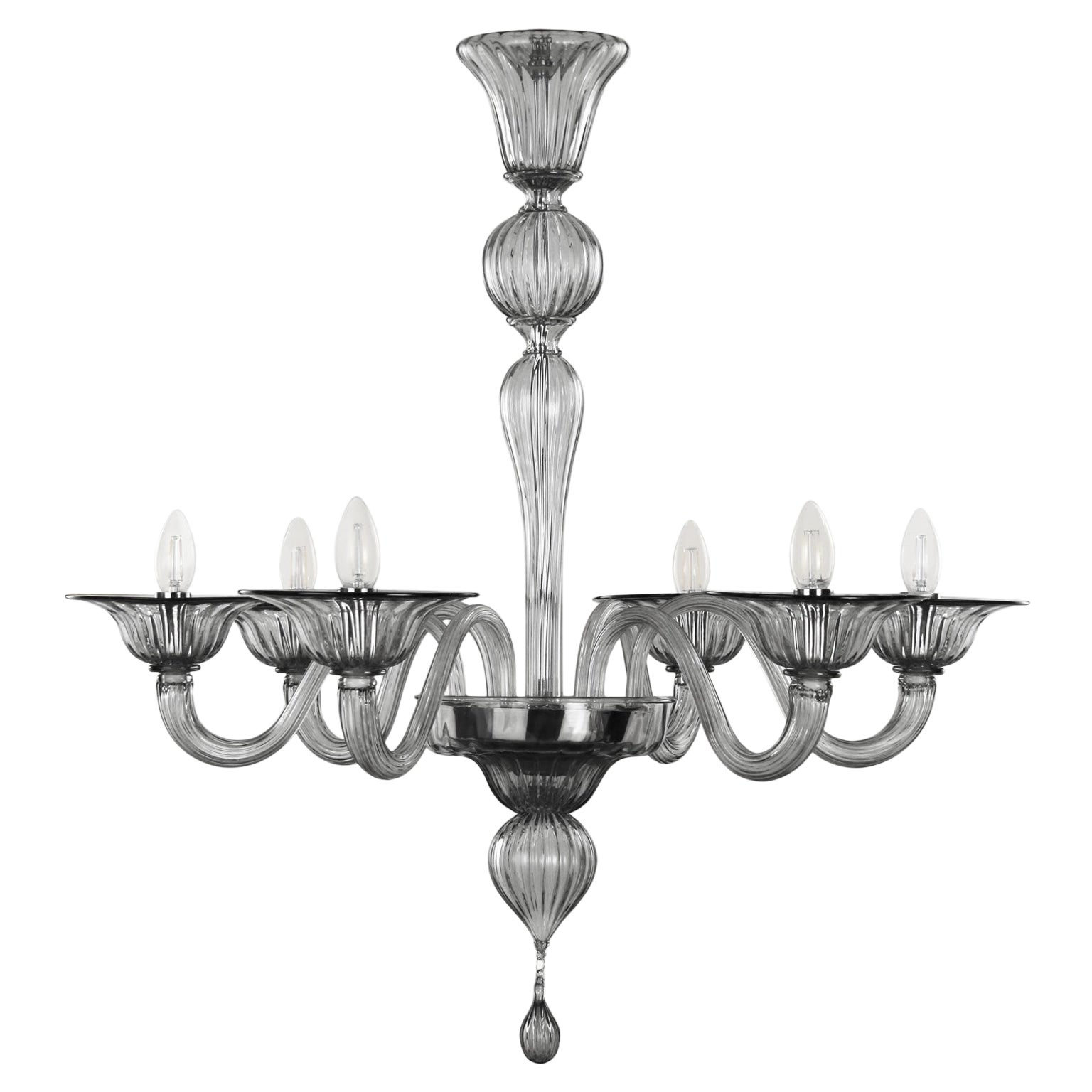 21st Century Chandelier, 6 arms Light Grey Murano Glass by Multiforme