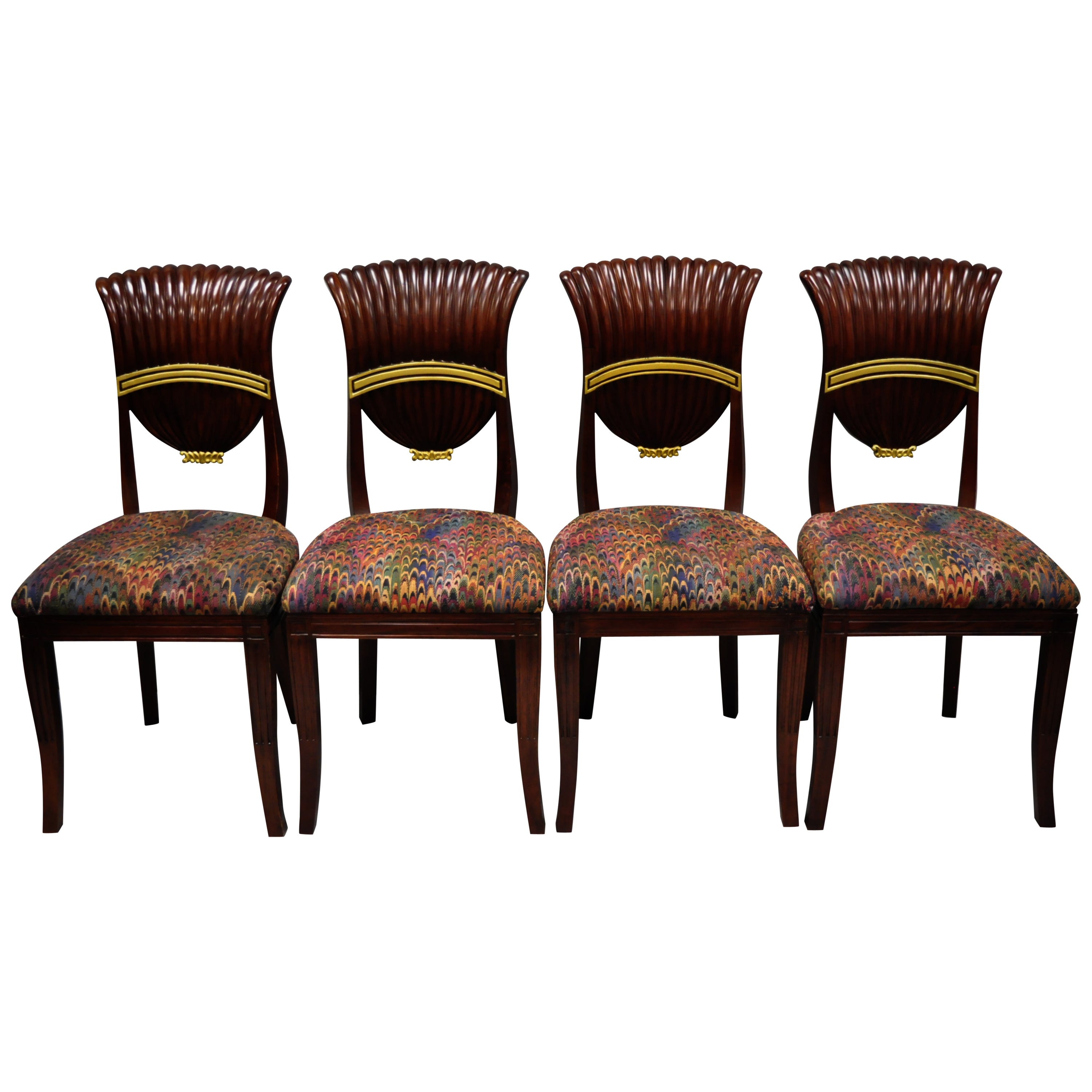 Set of Four French Neoclassical Style Shell Fan Back Dining Room Chairs