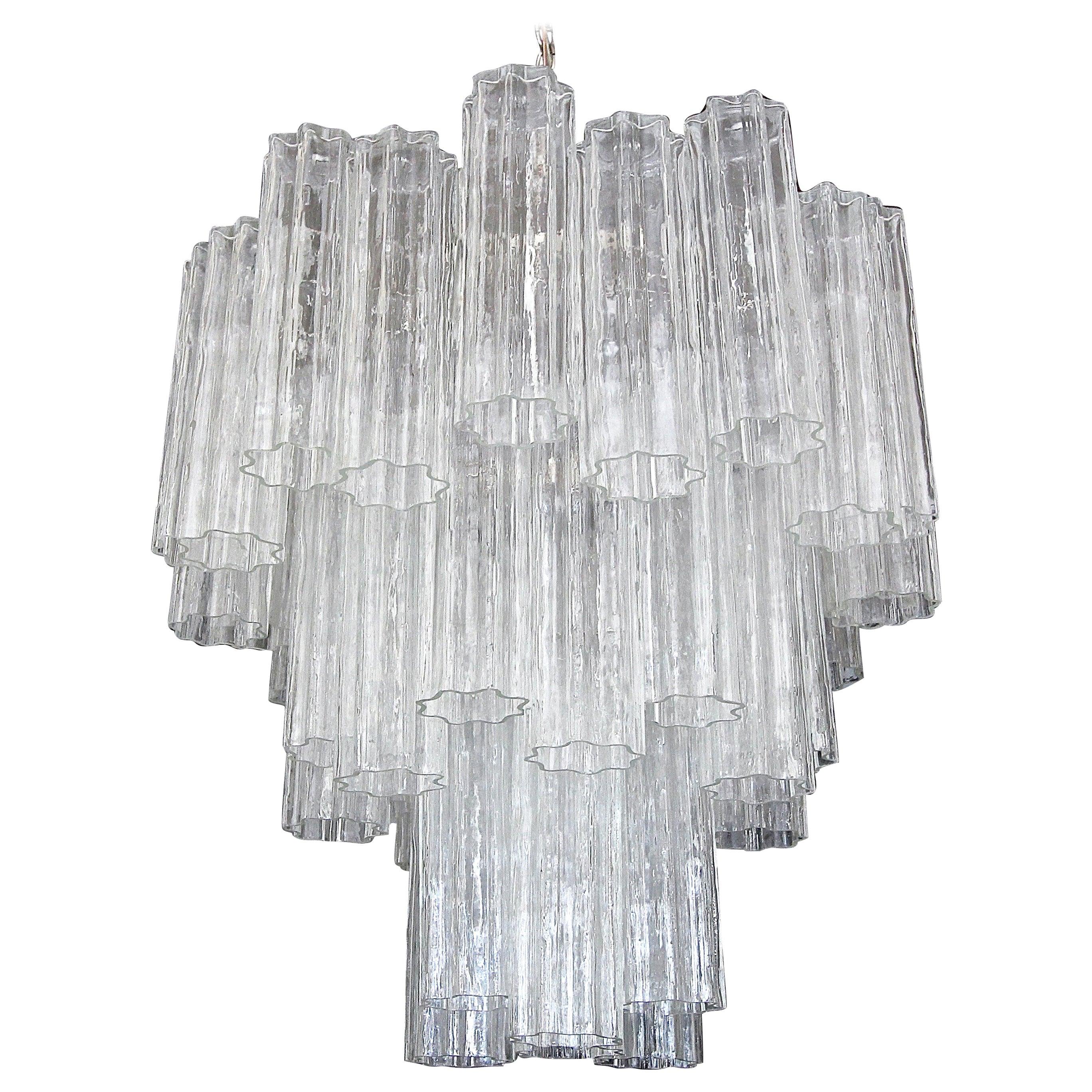 Large Venini Murano Tronchi Glass Tube Chandelier