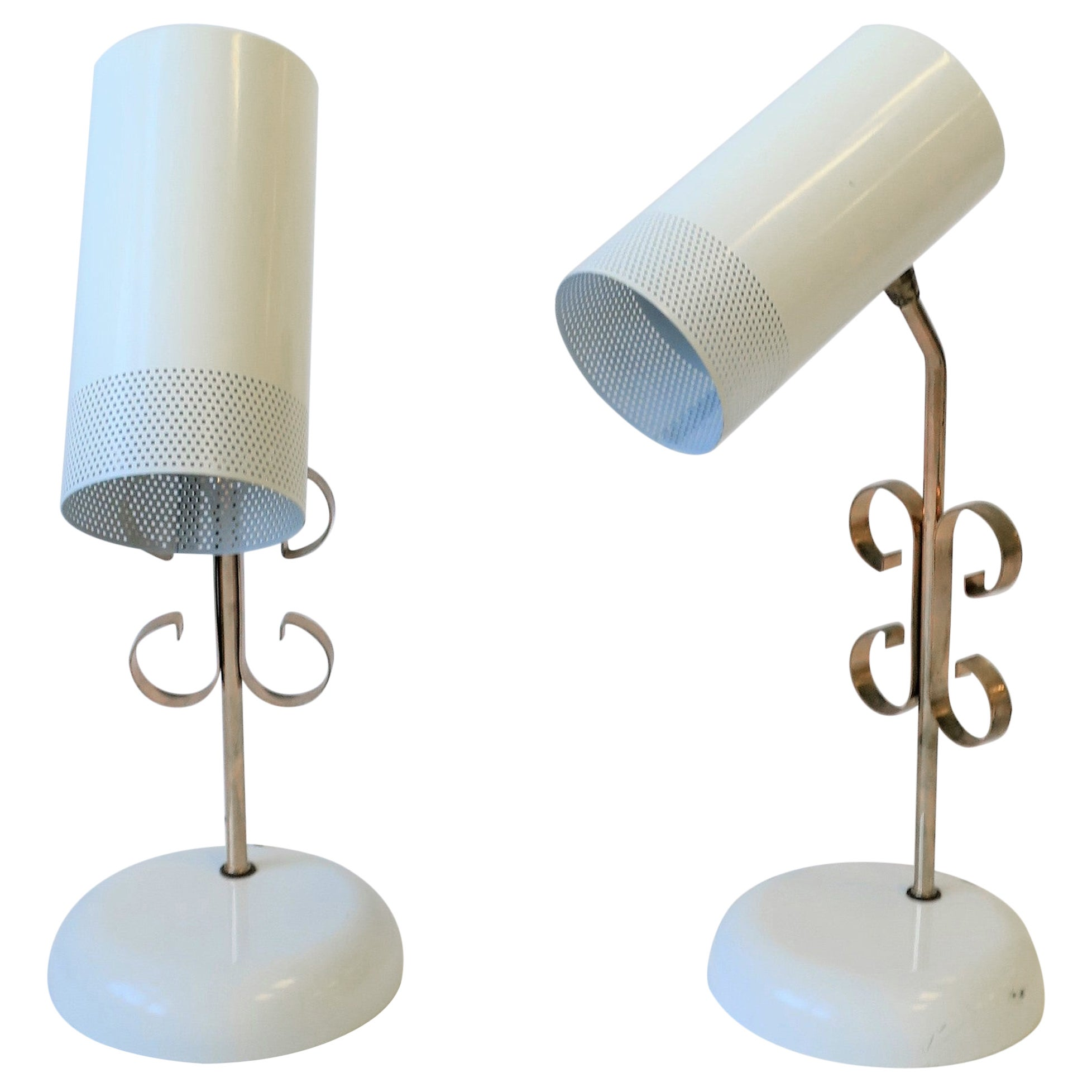 70s Modern White and Rose Pink Metal Table Lamps