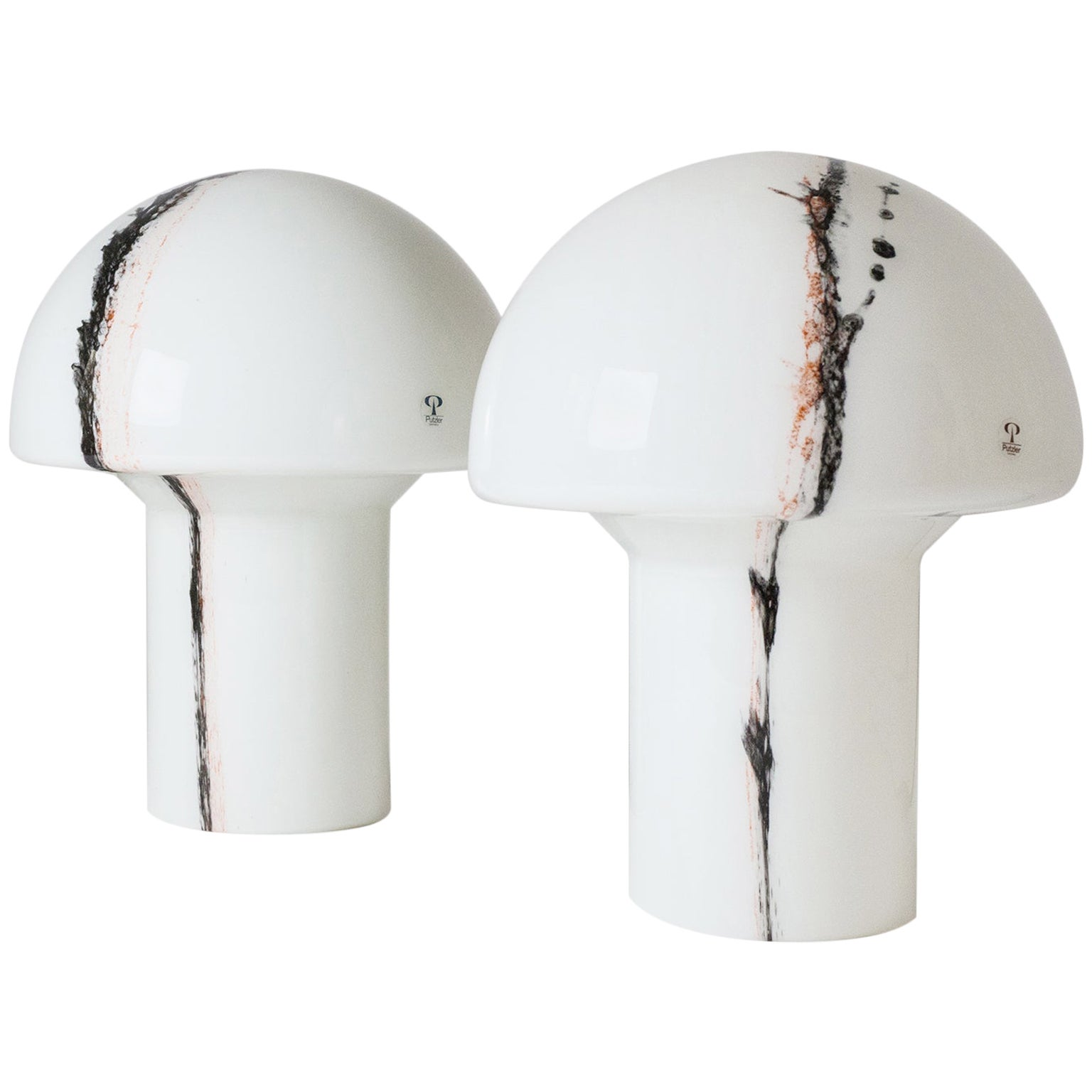Pair of Glass Mushroom Table Lamps, 1970s