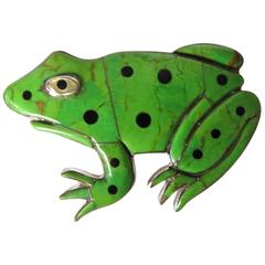 Frog Pendant 'Enamel on Sterling Silver,' circa 1990