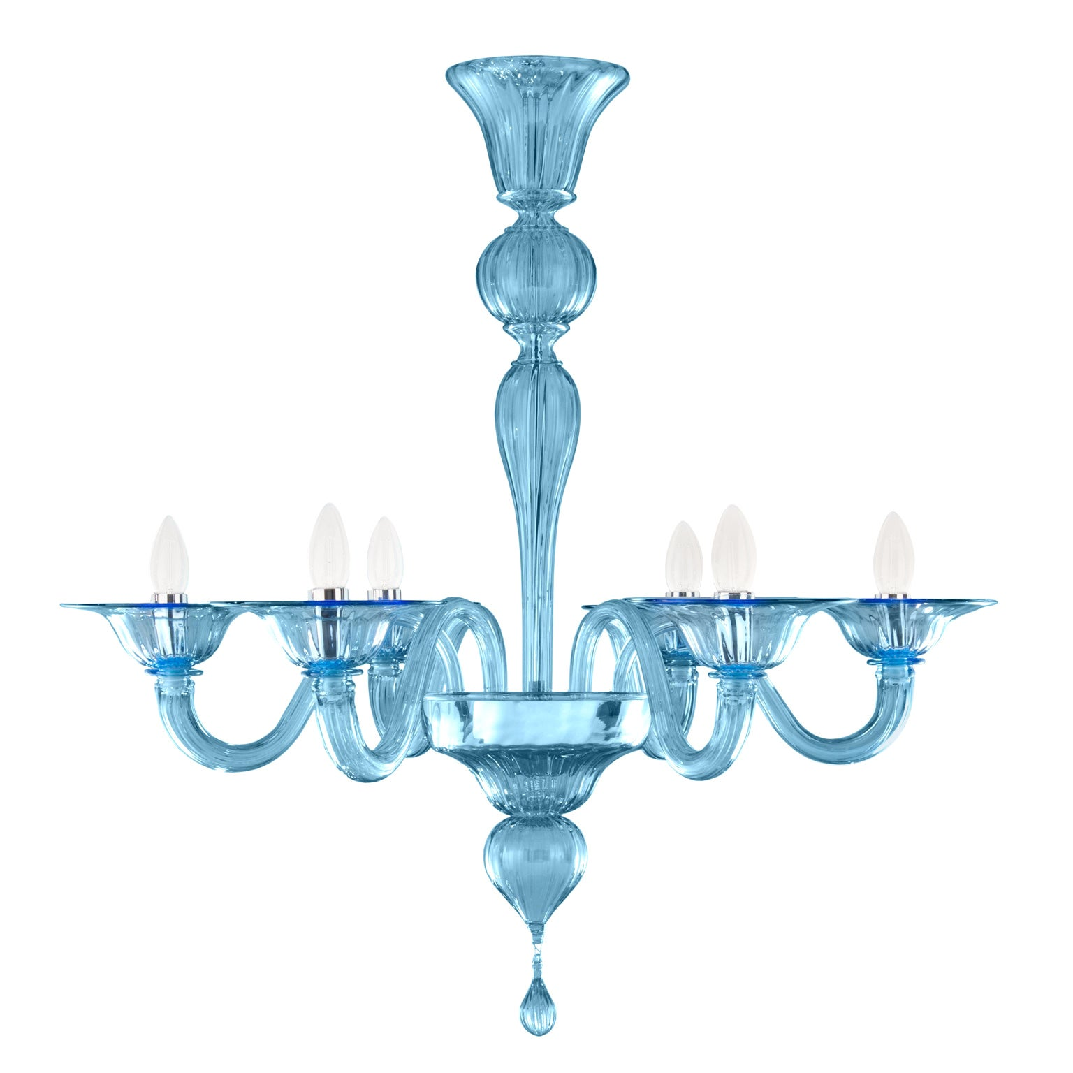 21st Century Chandelier, 6 arms Light Blue Murano Glass by Multiforme
