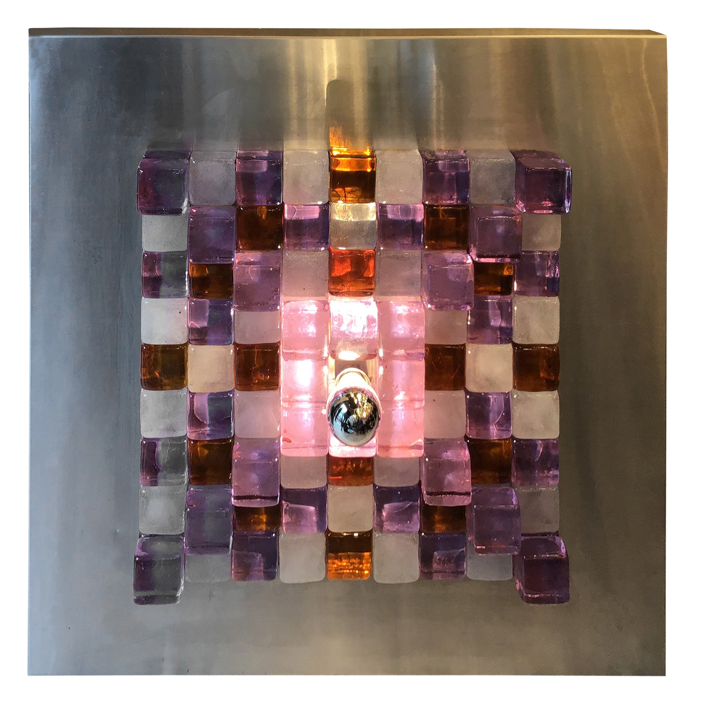 Poliarte by Albano Poli Sconce/Sculpture Metal Murano Glass, 1970, Italy