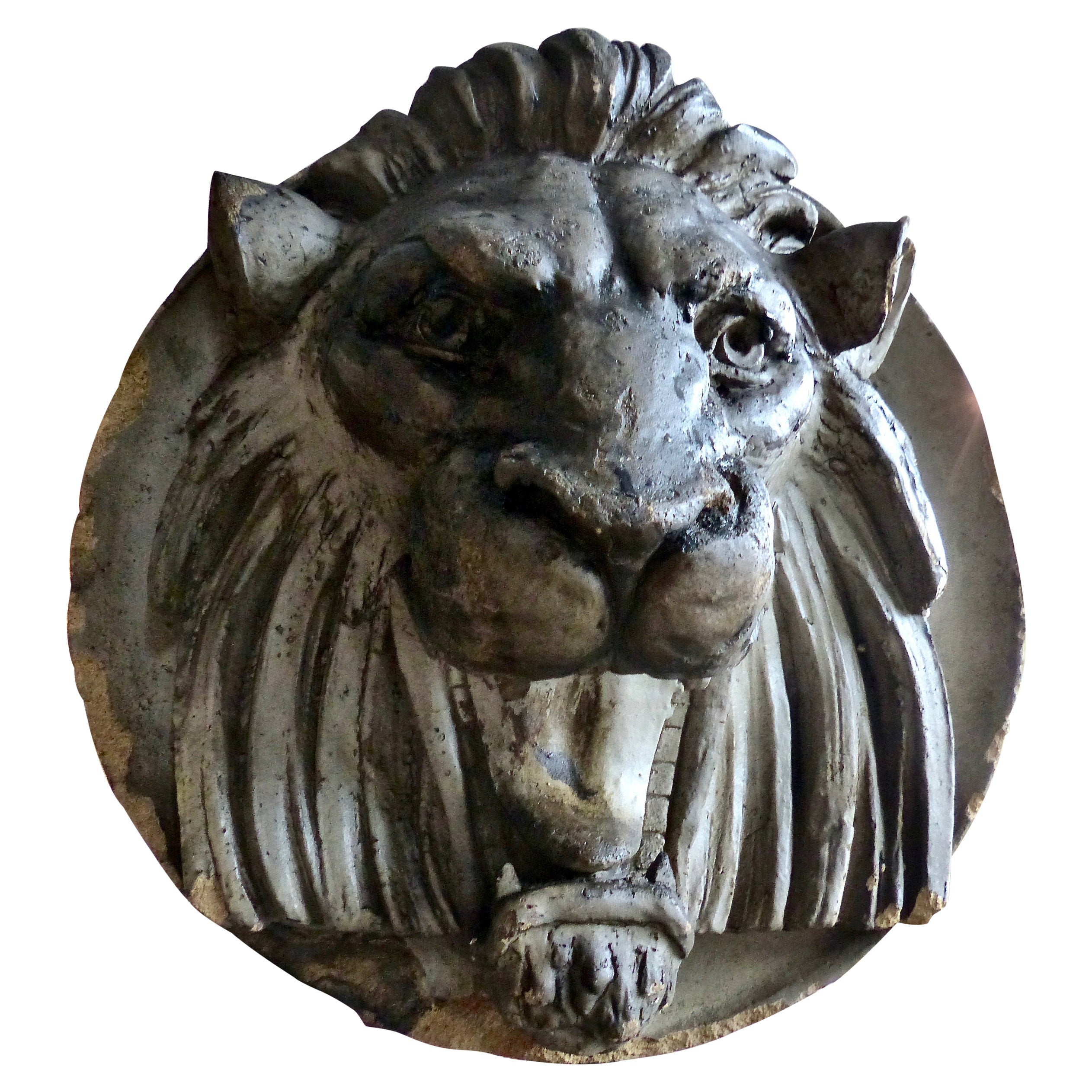 Late 19th Century French Limestone Lion's Head Architectural Salvage