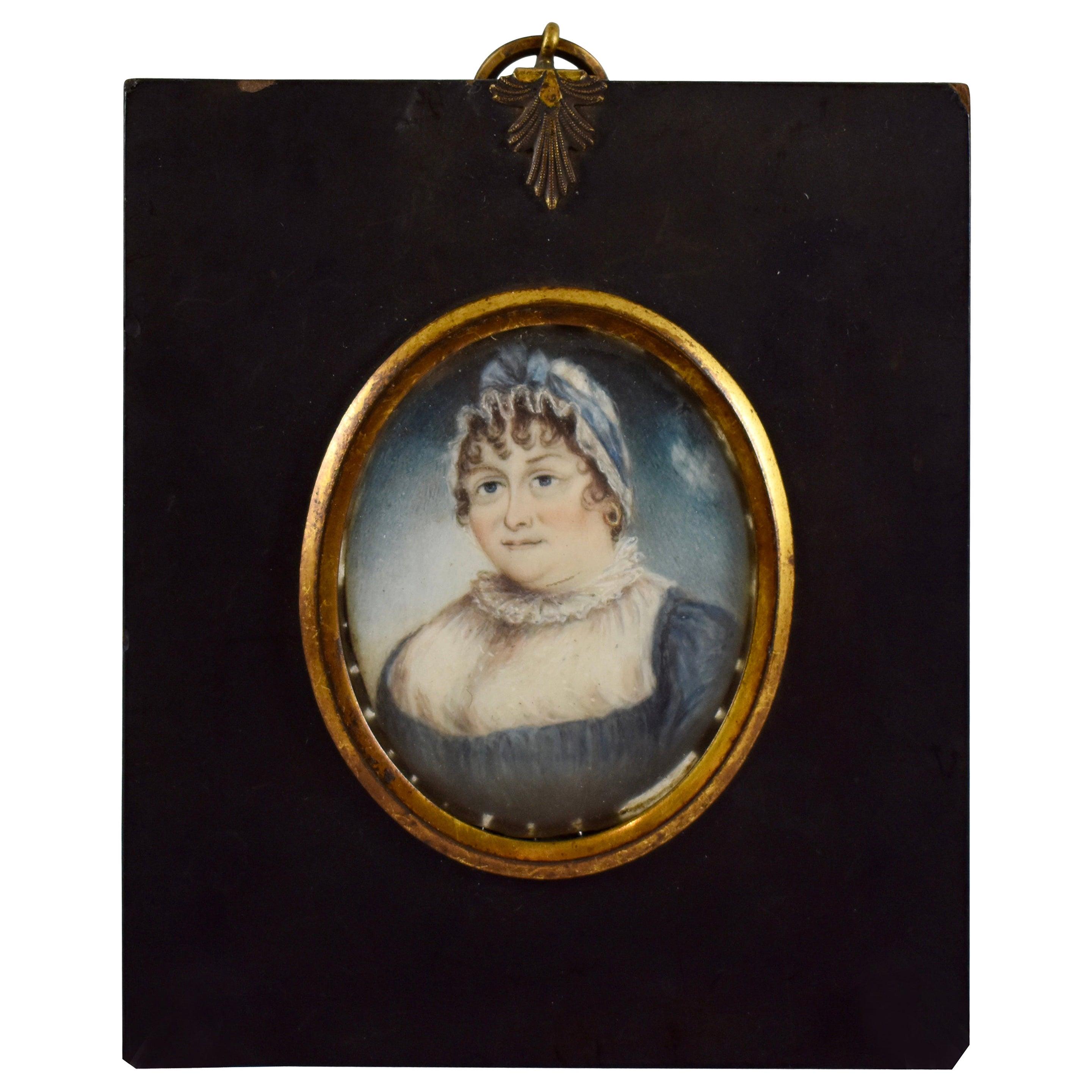 19th Century French Miniature Portrait, Buxom Woman in Blue Ribboned Bonnet