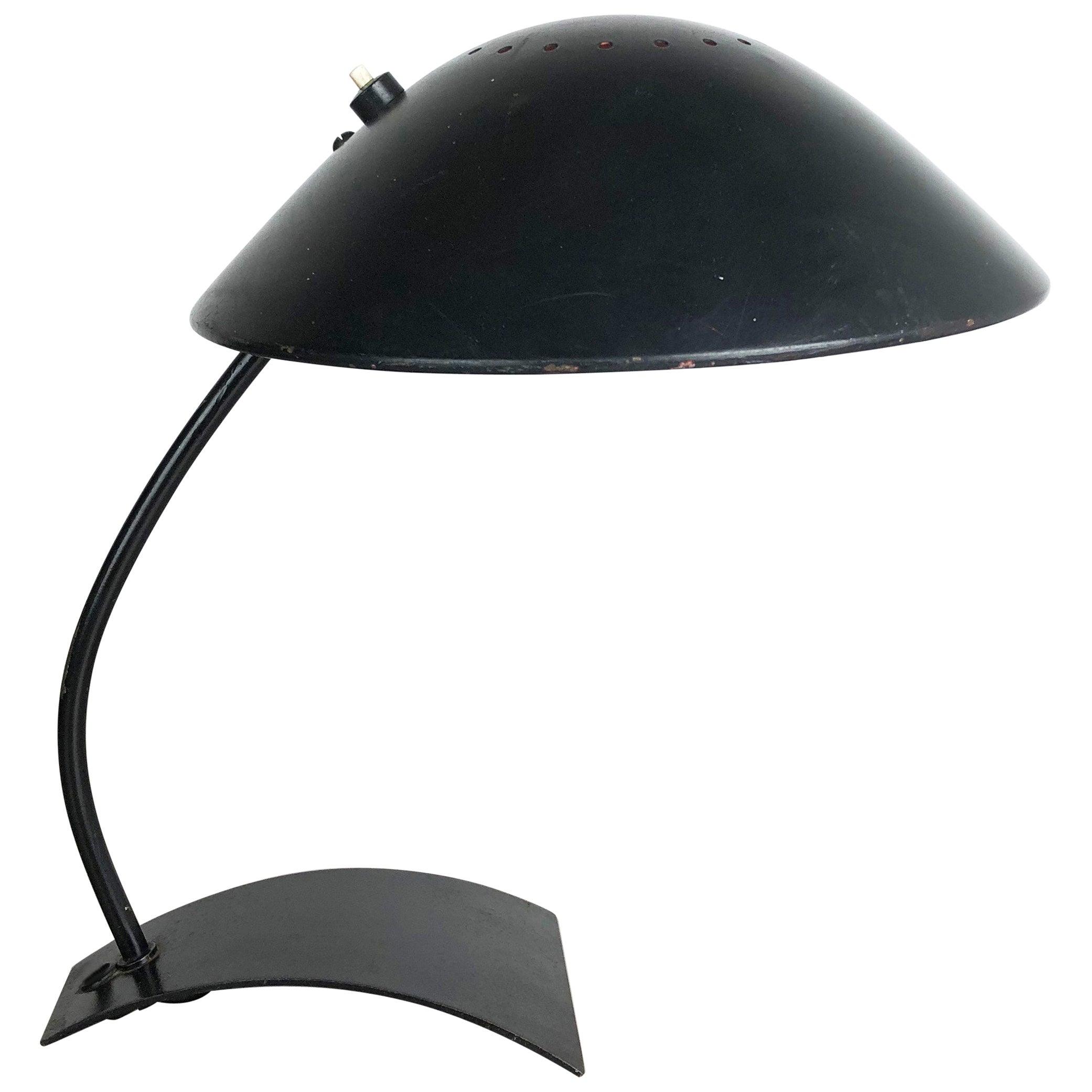 German Black Kaiser Idell 6840 Bauhaus Desk Light Christian Dell, Germany, 1950s